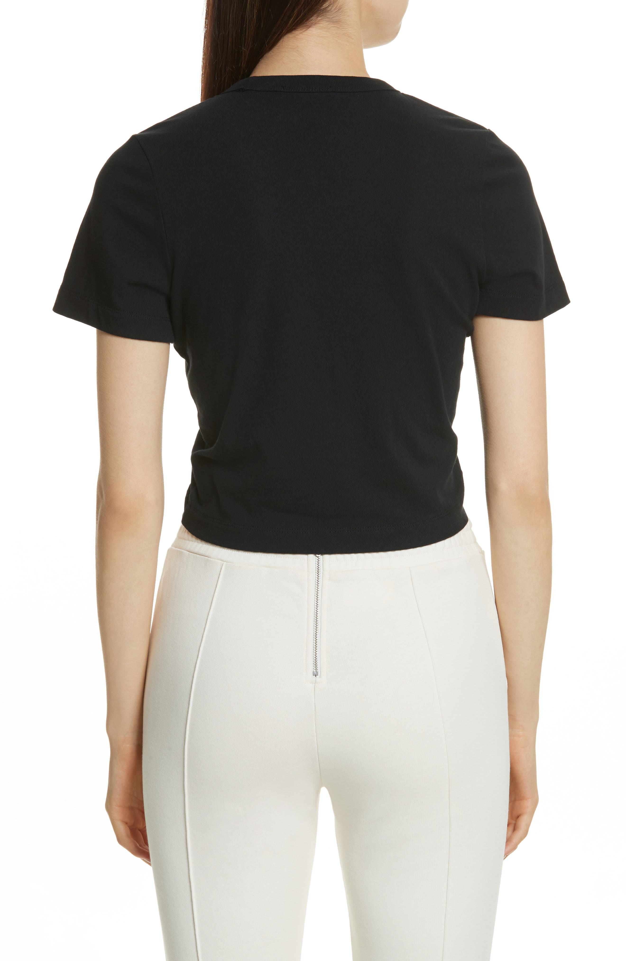 T by Alexander Wang Ruched Cotton Tee,                             Alternate thumbnail 2, color,                             001