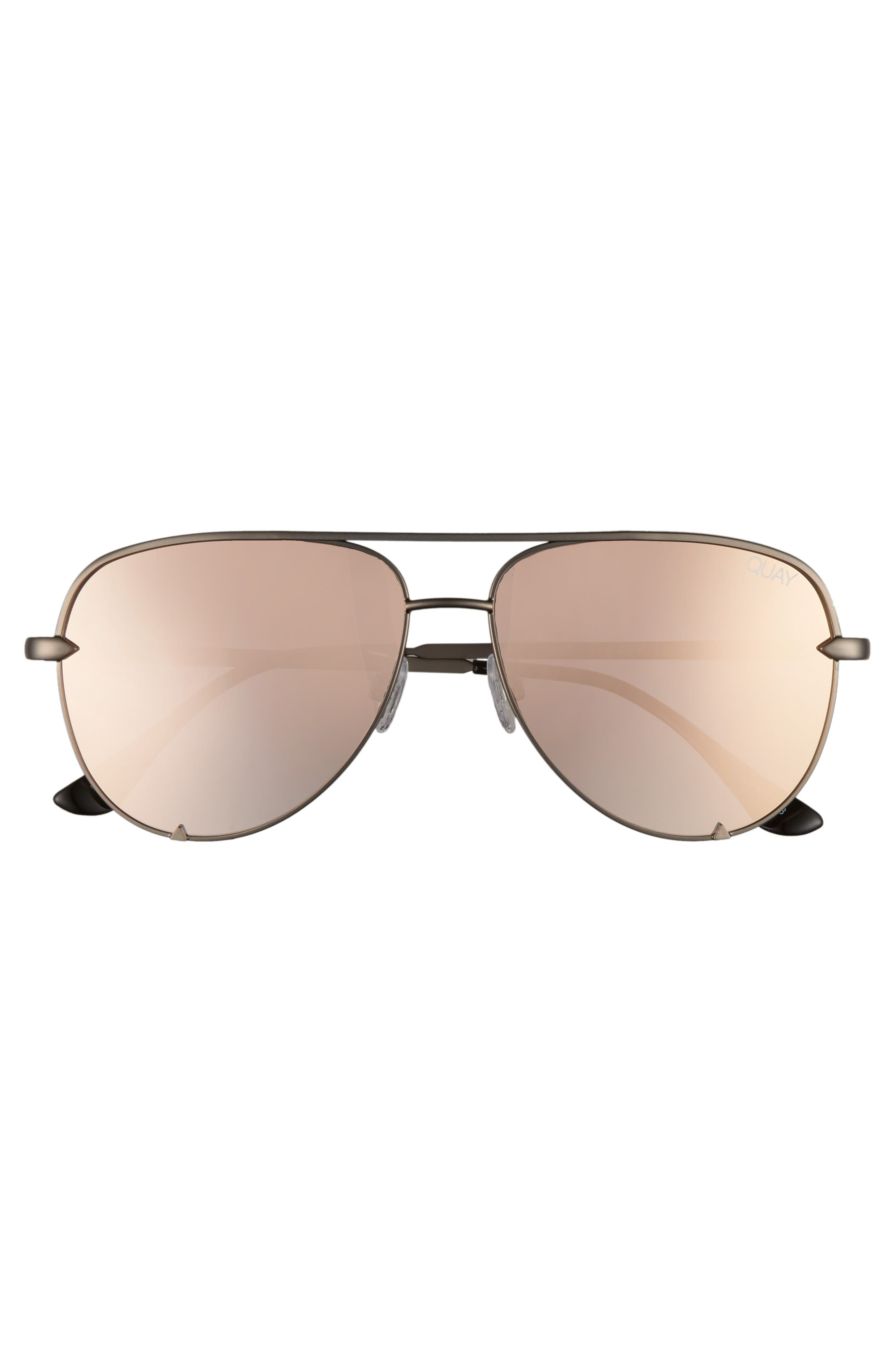 x Desi Perkins High Key Mini 57mm Aviator Sunglasses,                             Alternate thumbnail 3, color,                             GUNMETAL/ ROSE