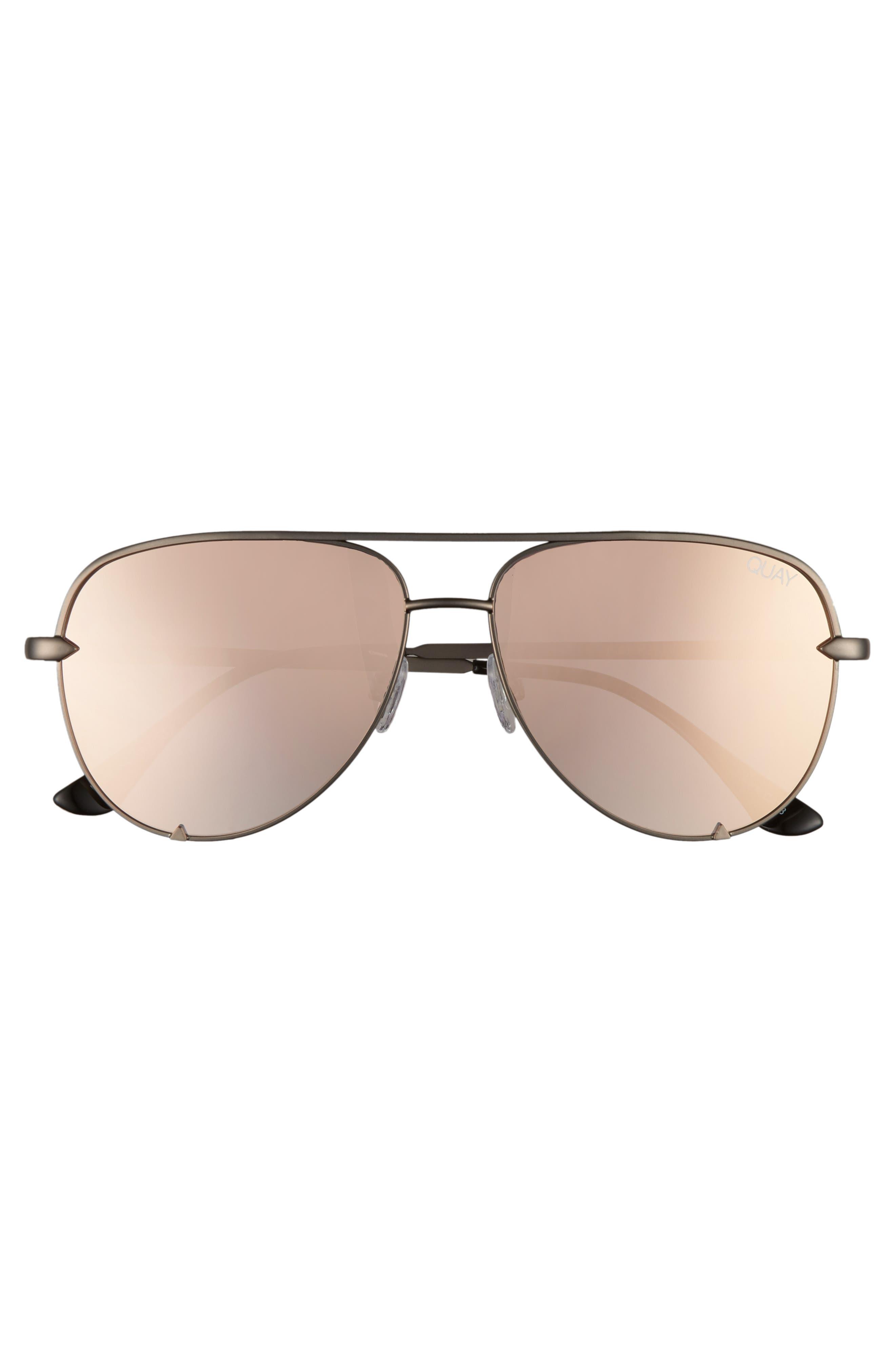 x Desi Perkins High Key Mini 57mm Aviator Sunglasses,                             Alternate thumbnail 3, color,                             GUNMETAL/ ROSE