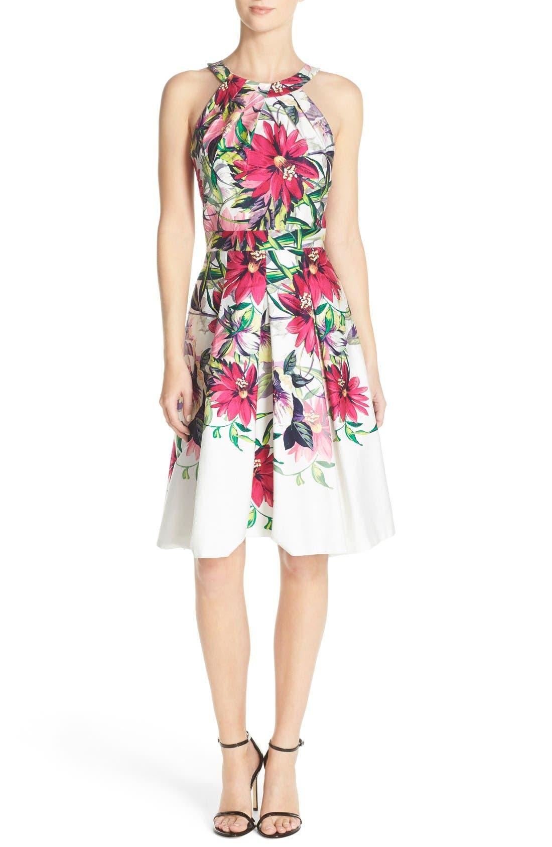 Floral Print Tea Length Fit & Flare Dress,                             Alternate thumbnail 6, color,                             653