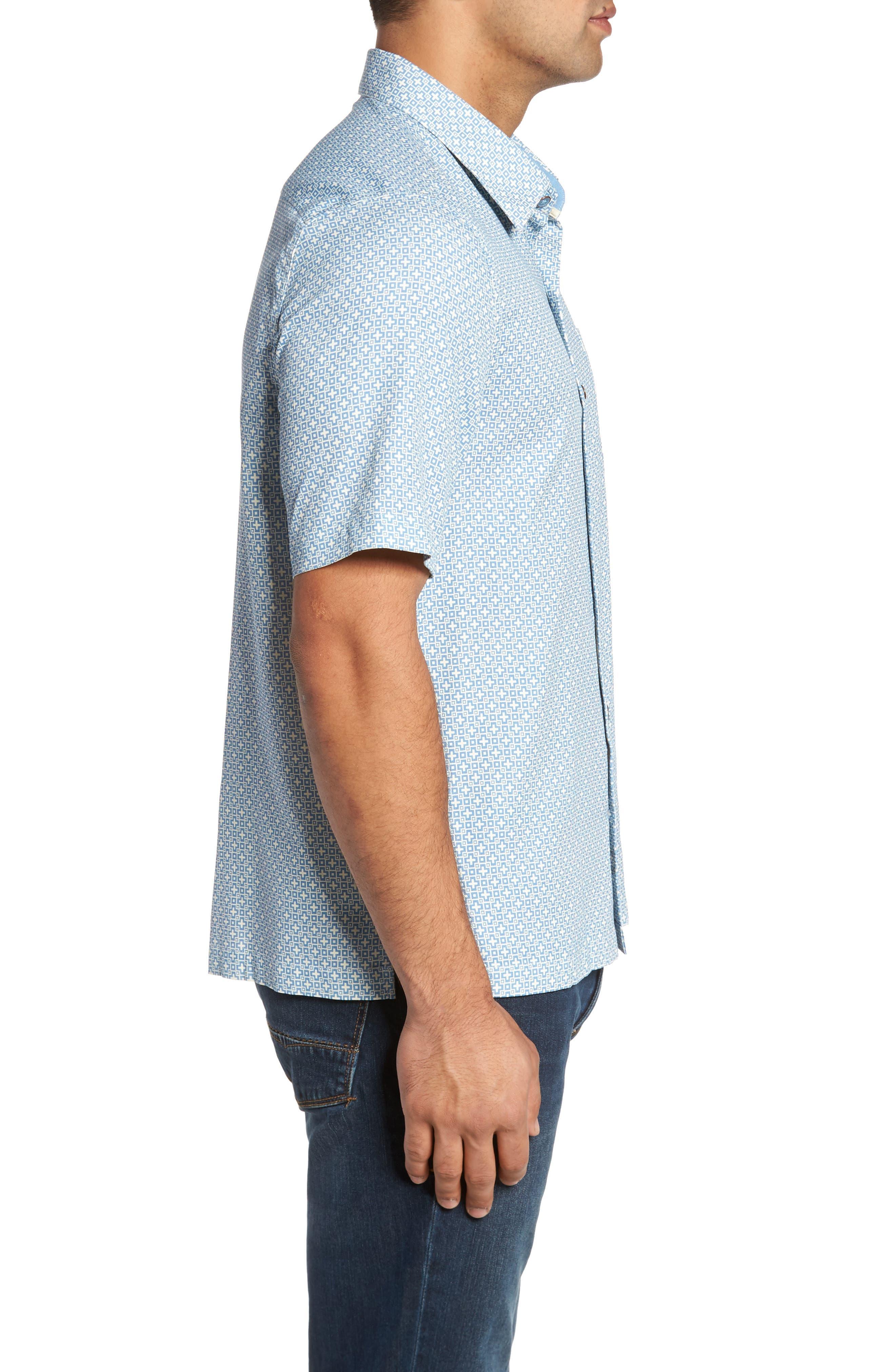 Everest Print Silk Blend Sport Shirt,                             Alternate thumbnail 8, color,