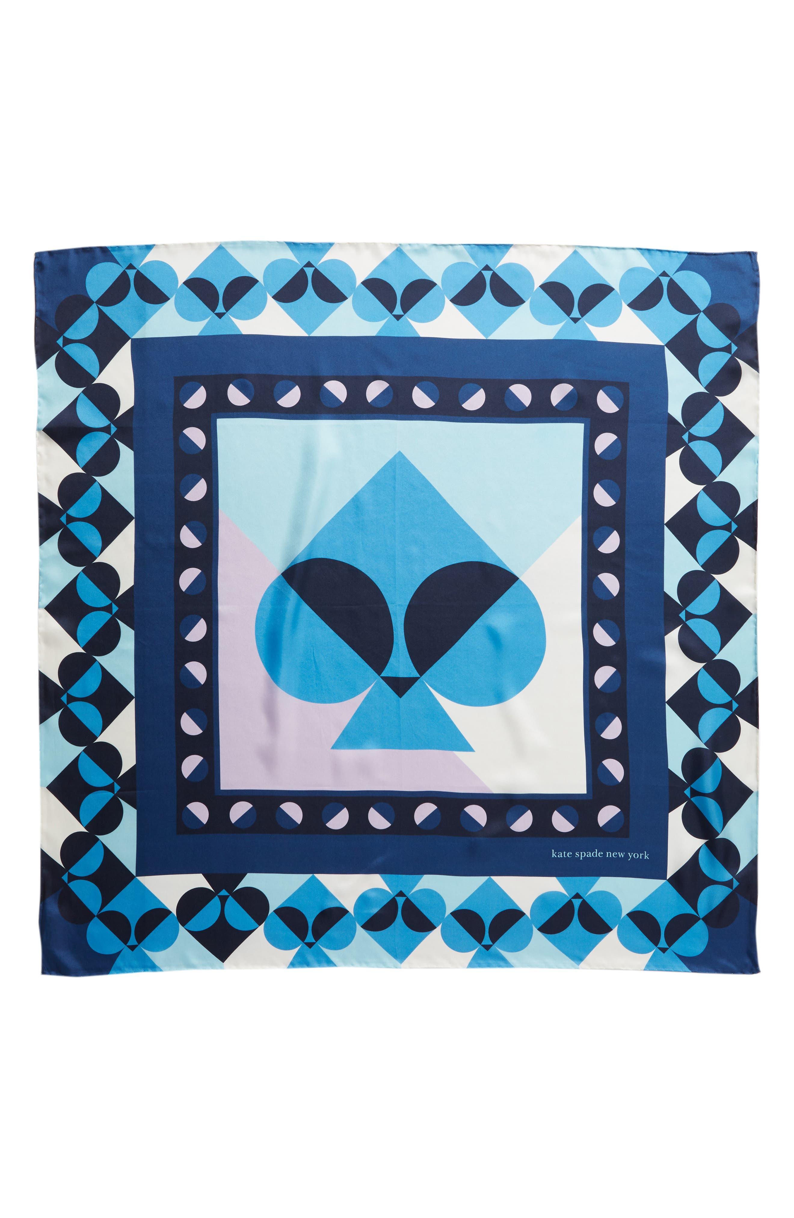 KATE SPADE NEW YORK,                             geospade square silk scarf,                             Alternate thumbnail 3, color,                             AMULET BLUE