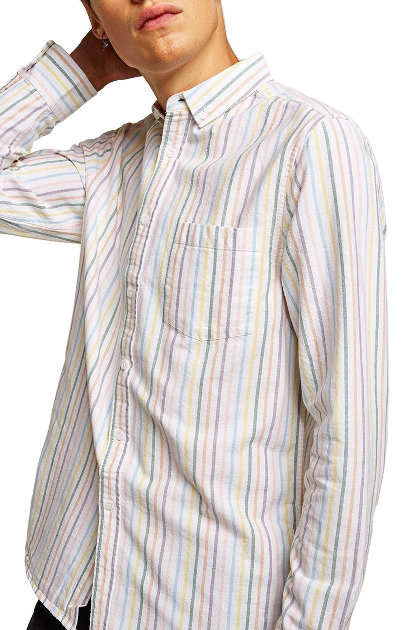 Classic Stripe Shirt,                         Main,                         color, WHITE MULTI