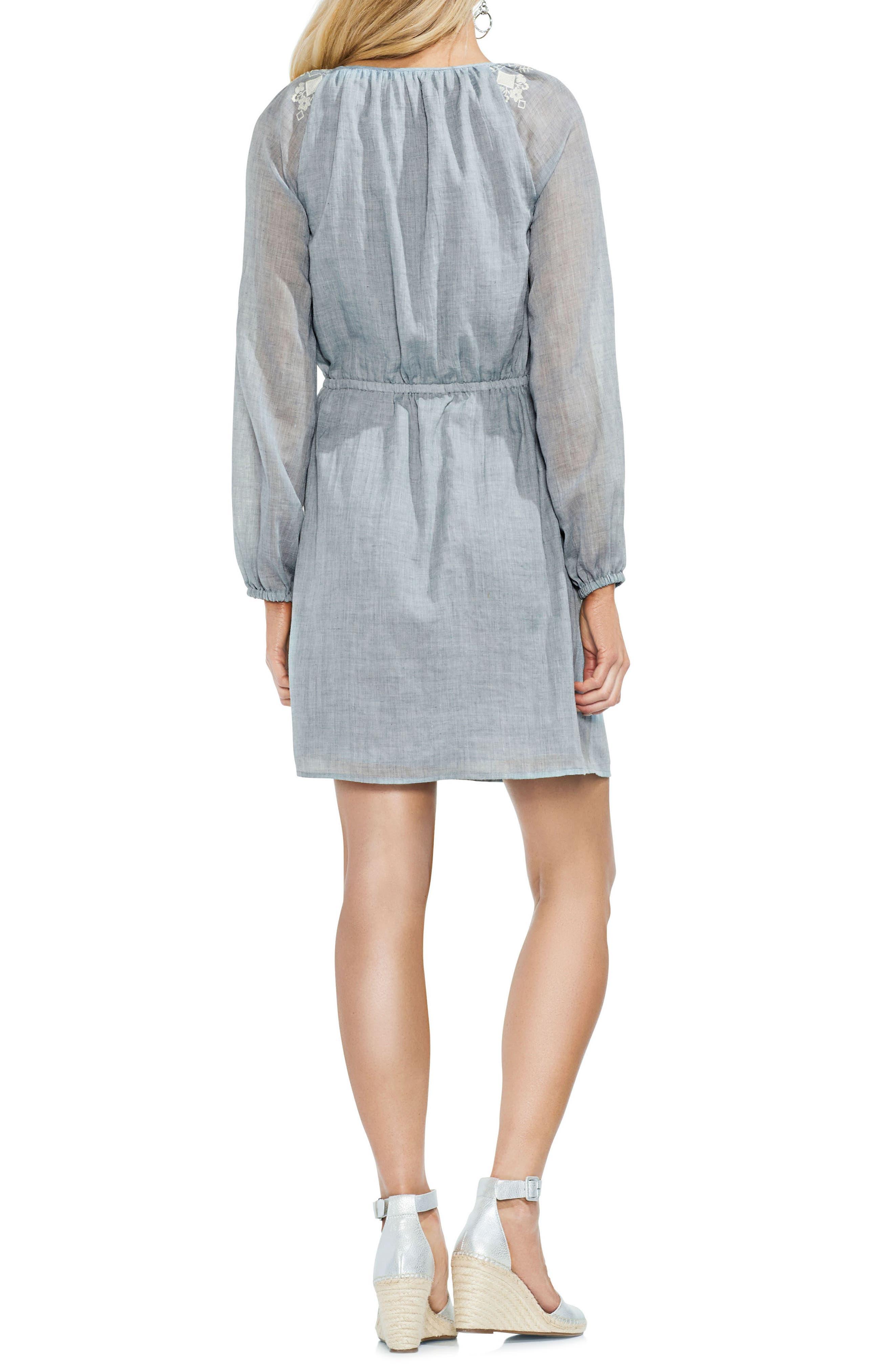 Mélange Gauze Cinch Waist Dress,                             Alternate thumbnail 2, color,                             400