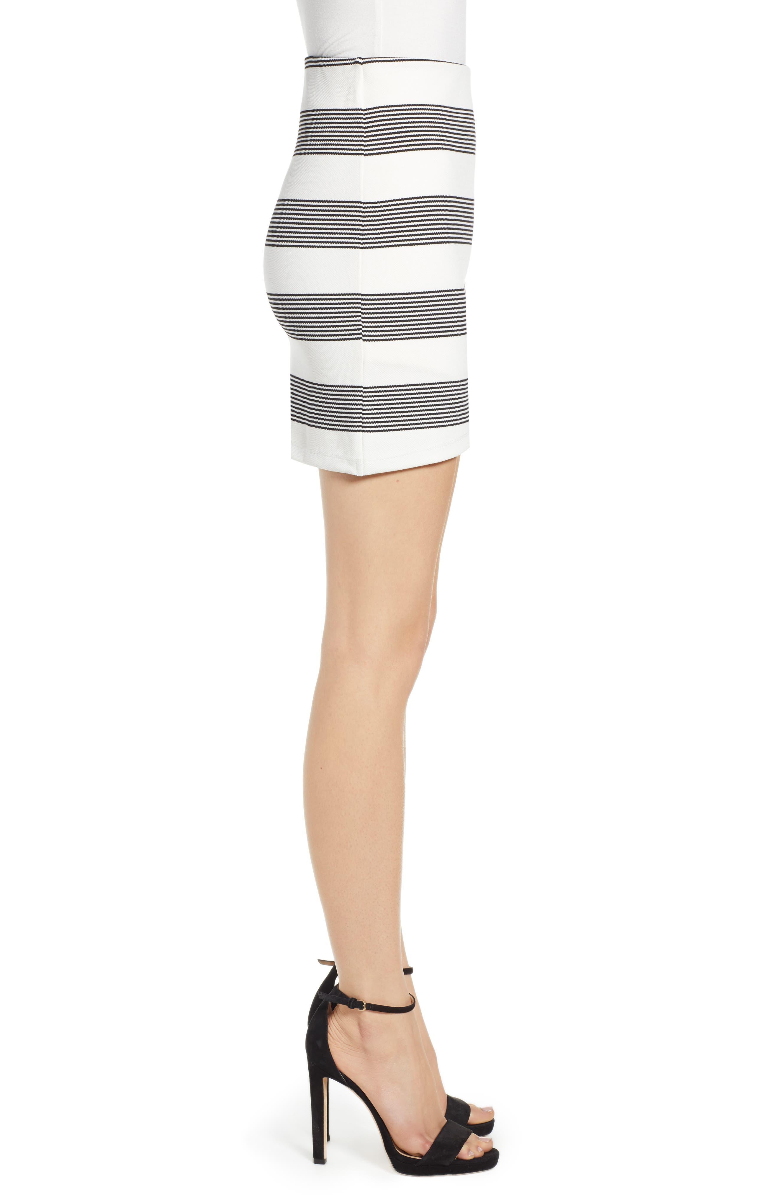Stripe Miniskirt,                             Alternate thumbnail 3, color,                             BLACK STRIPE
