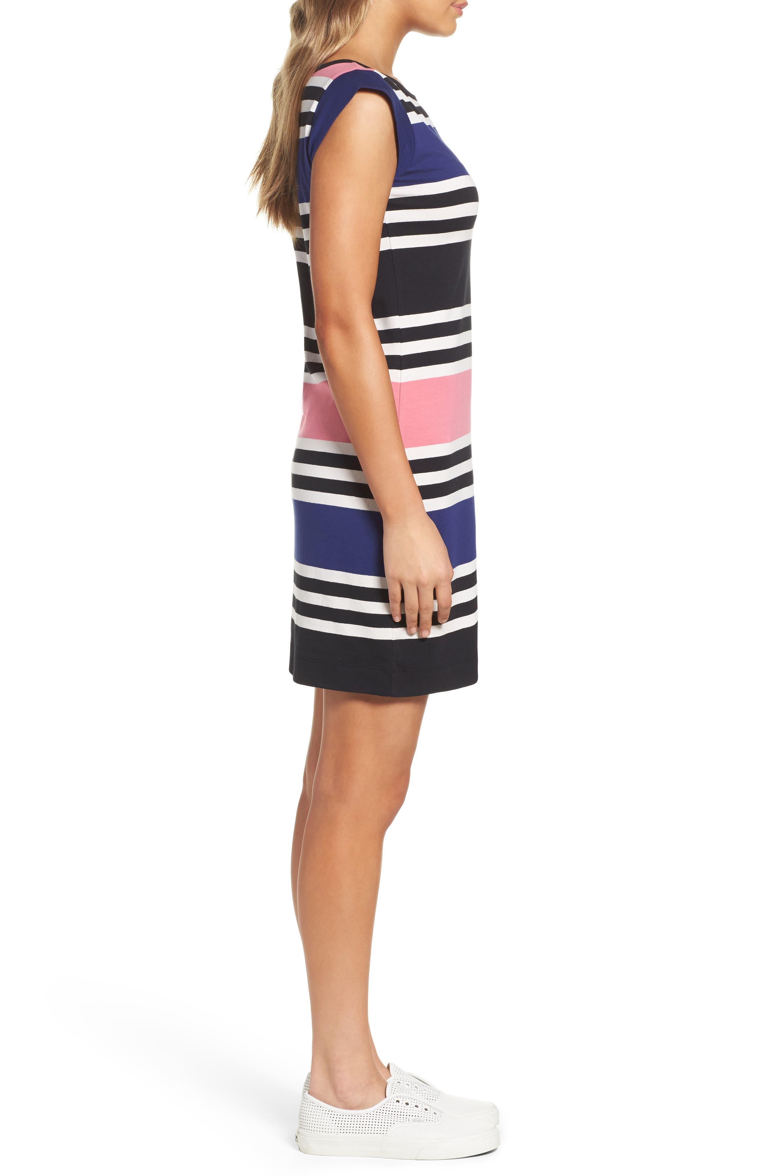 Multi Jag Stripe T-Shirt Dress,                             Alternate thumbnail 3, color,                             471
