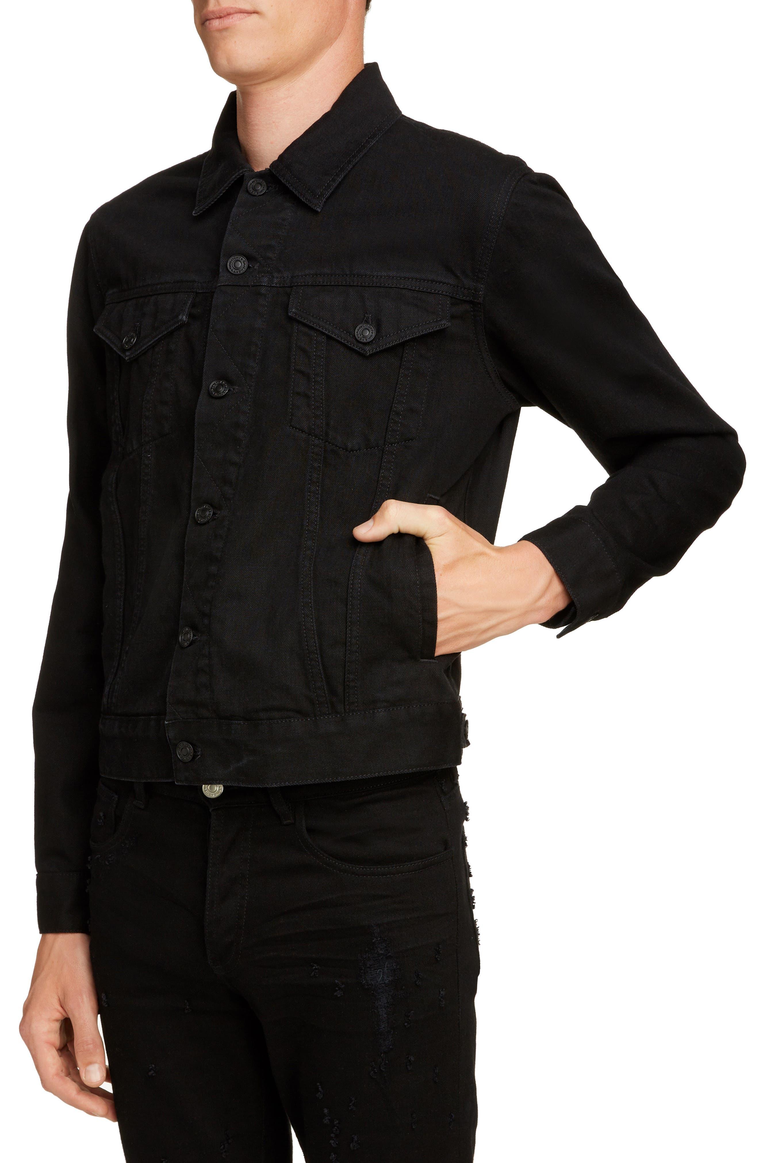 GIVENCHY,                             Logo Denim Jacket,                             Alternate thumbnail 4, color,                             BLACK
