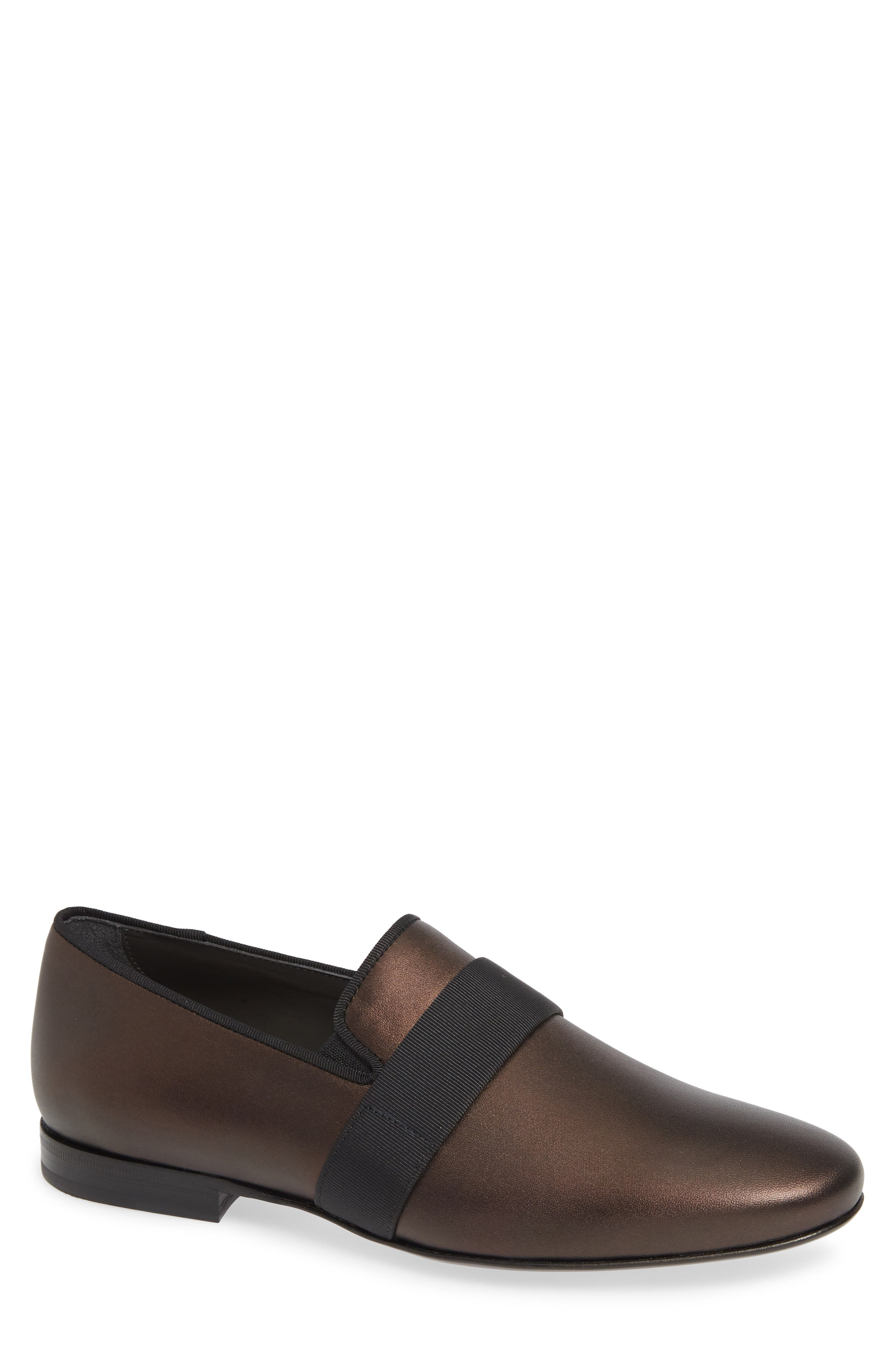 Satin Leather Evening Slippers in Brown