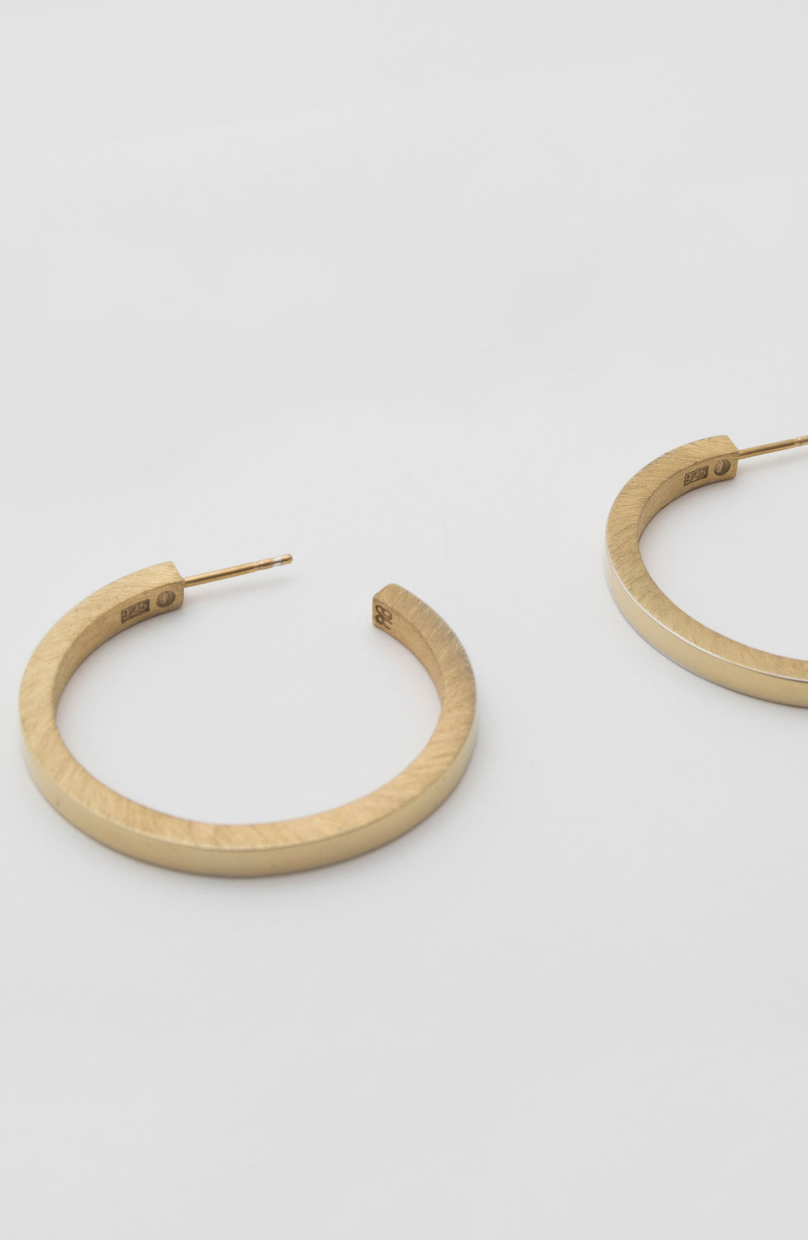 Large Square Hoop Earrings,                             Alternate thumbnail 4, color,                             BRUSHED POLISHED VERMEIL