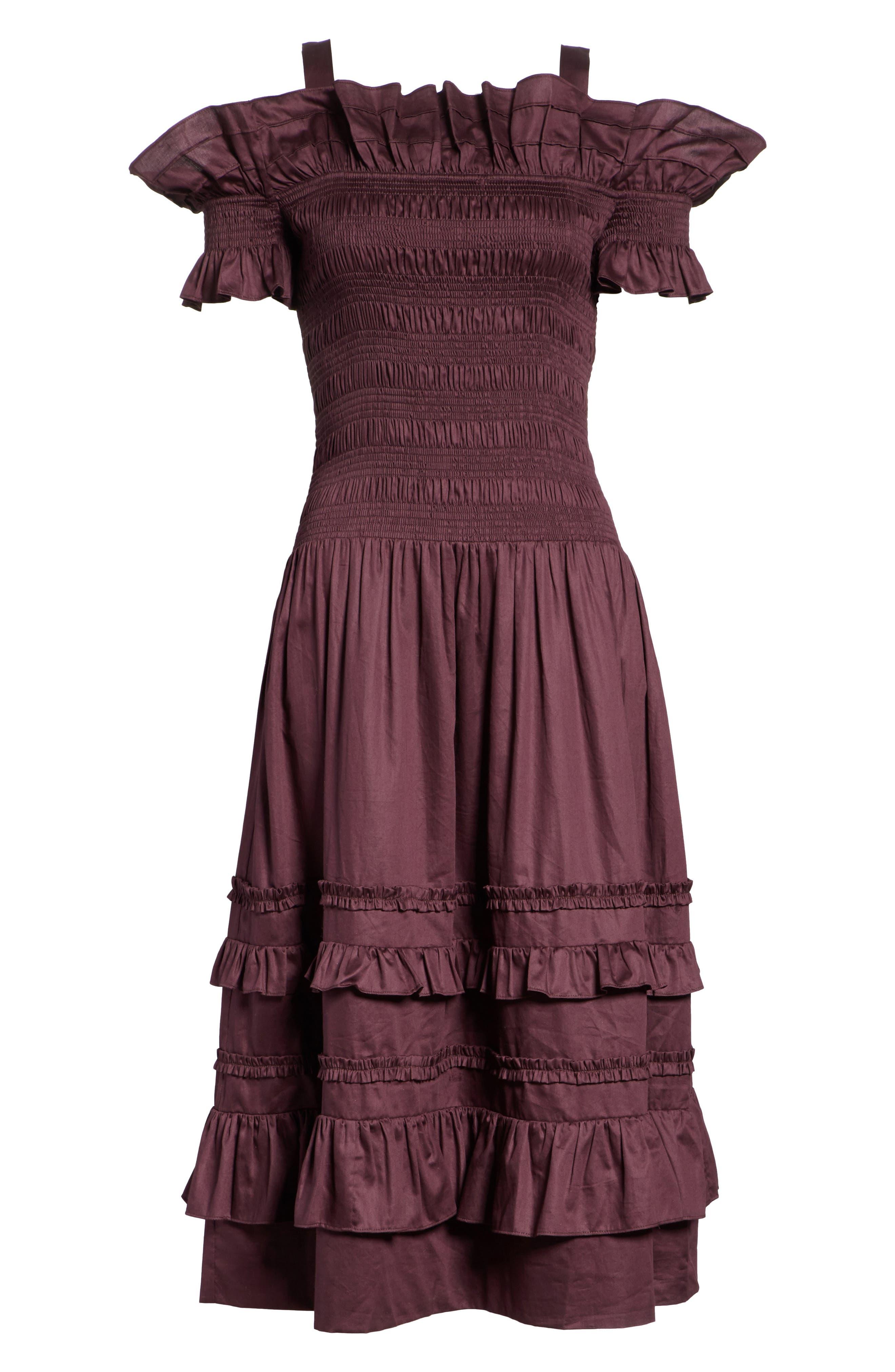 Cold Shoulder Smocked Cotton Dress,                             Alternate thumbnail 7, color,                             PLUM
