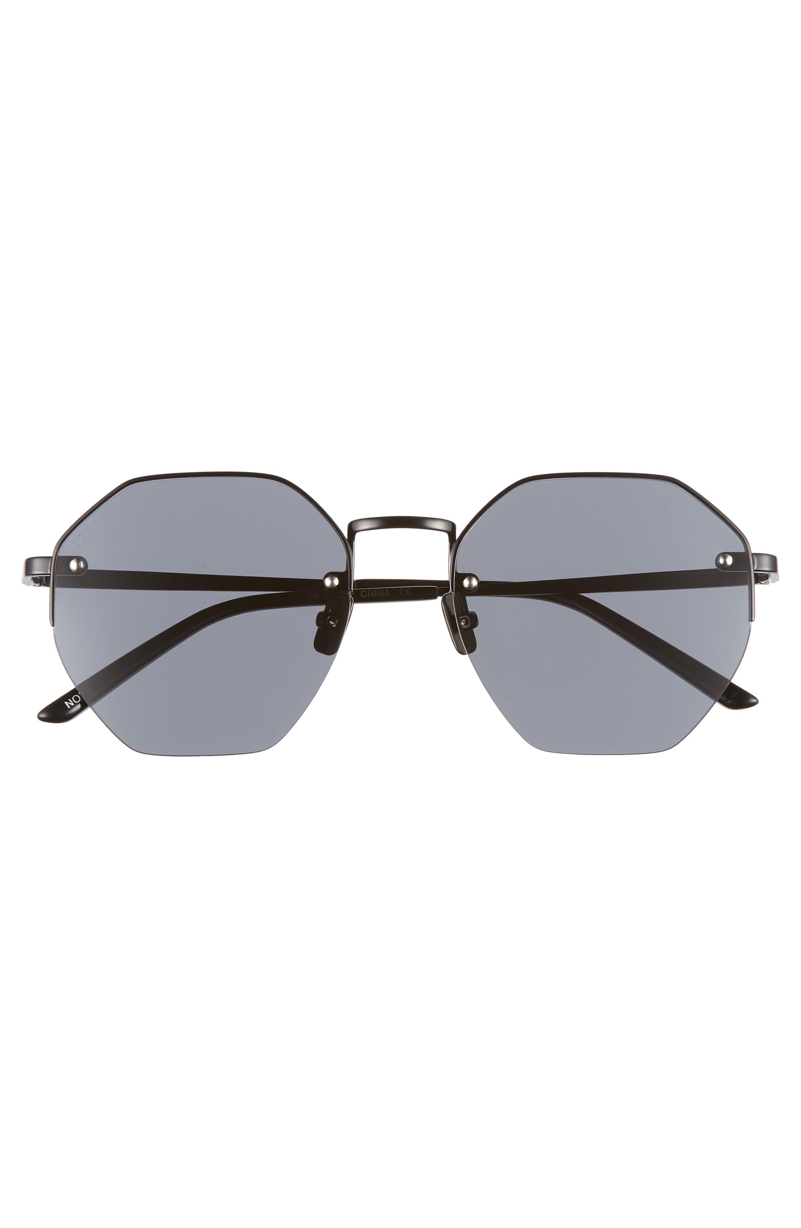 Nova 50mm Polarized Semi Rimless Geo Sunglasses,                             Alternate thumbnail 3, color,                             BLACK/ SMOKE