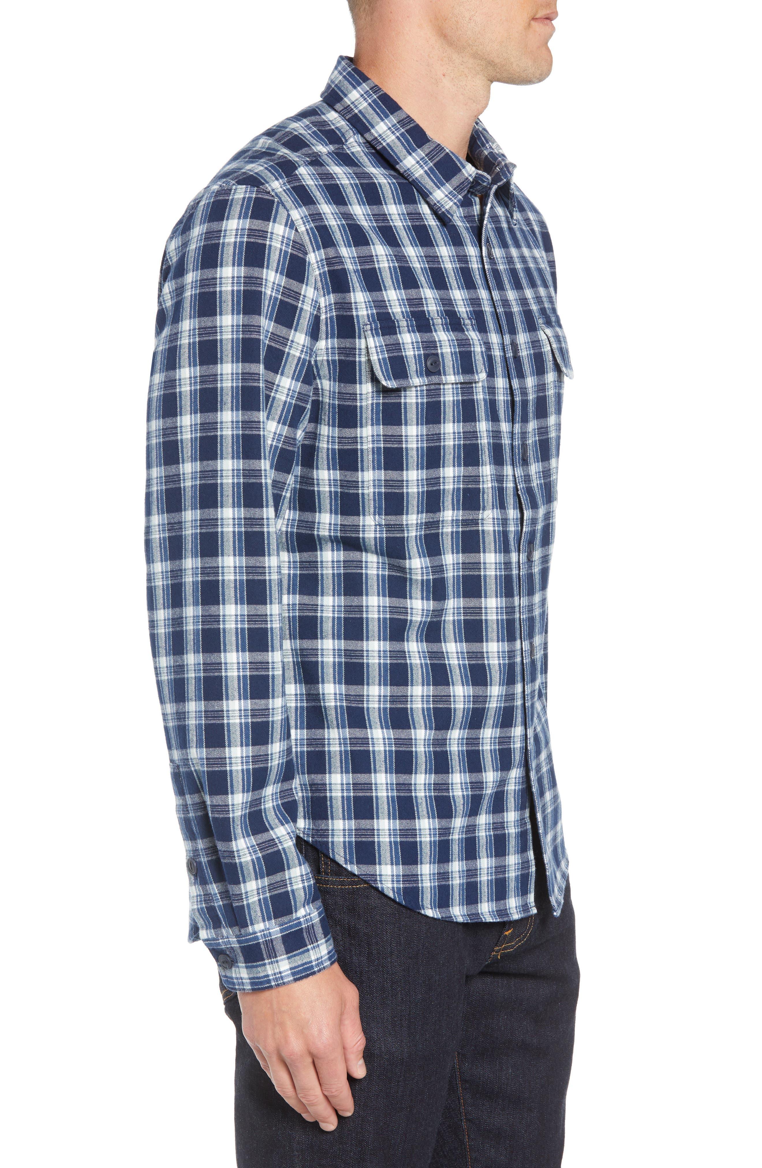 UGG<SUP>®</SUP>,                             Anders Flannel Sport Shirt,                             Alternate thumbnail 4, color,                             DARK DENIM PLAID