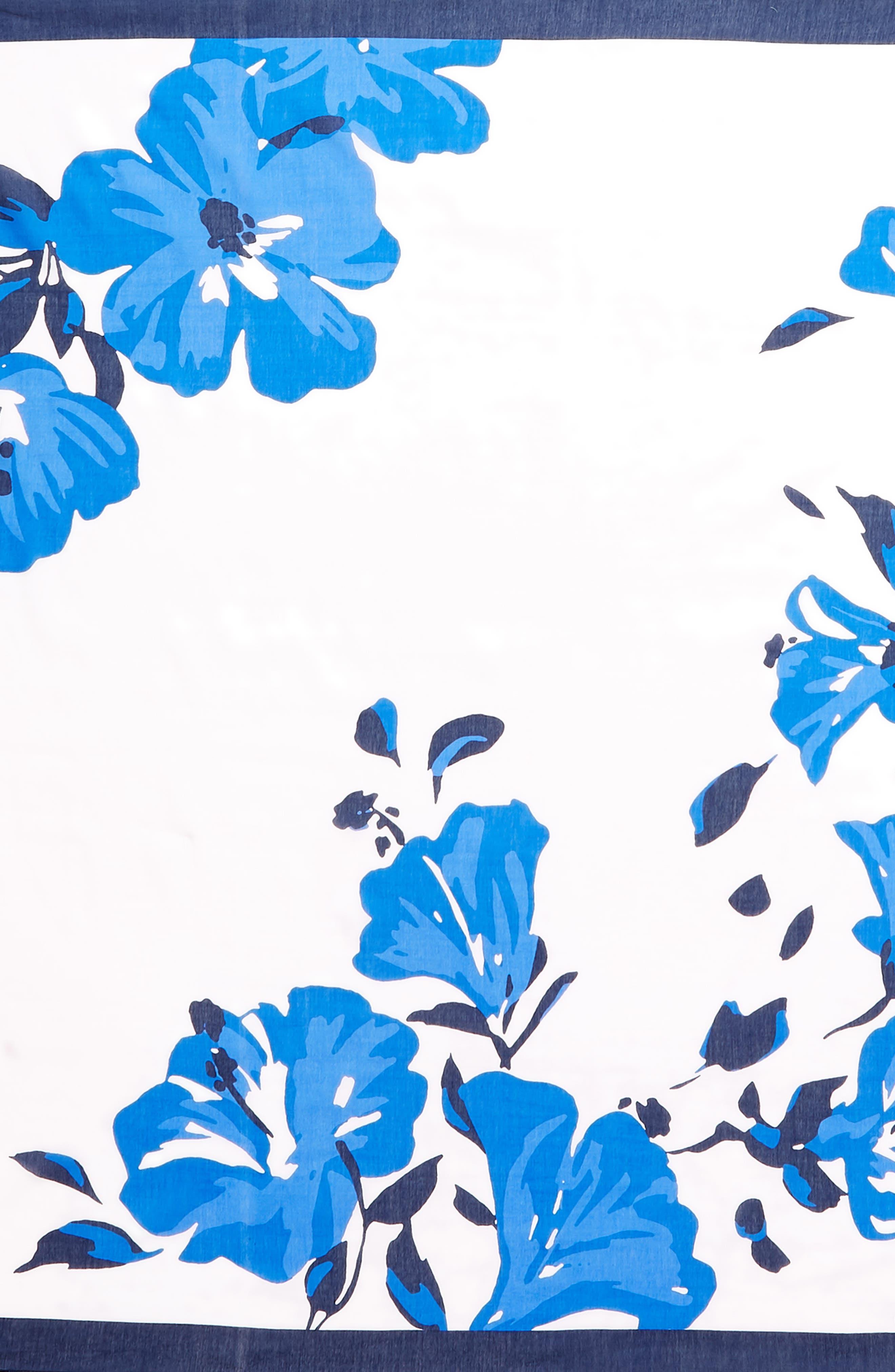 hibiscus square cotton & silk scarf,                             Alternate thumbnail 4, color,                             PINK LEMONADE