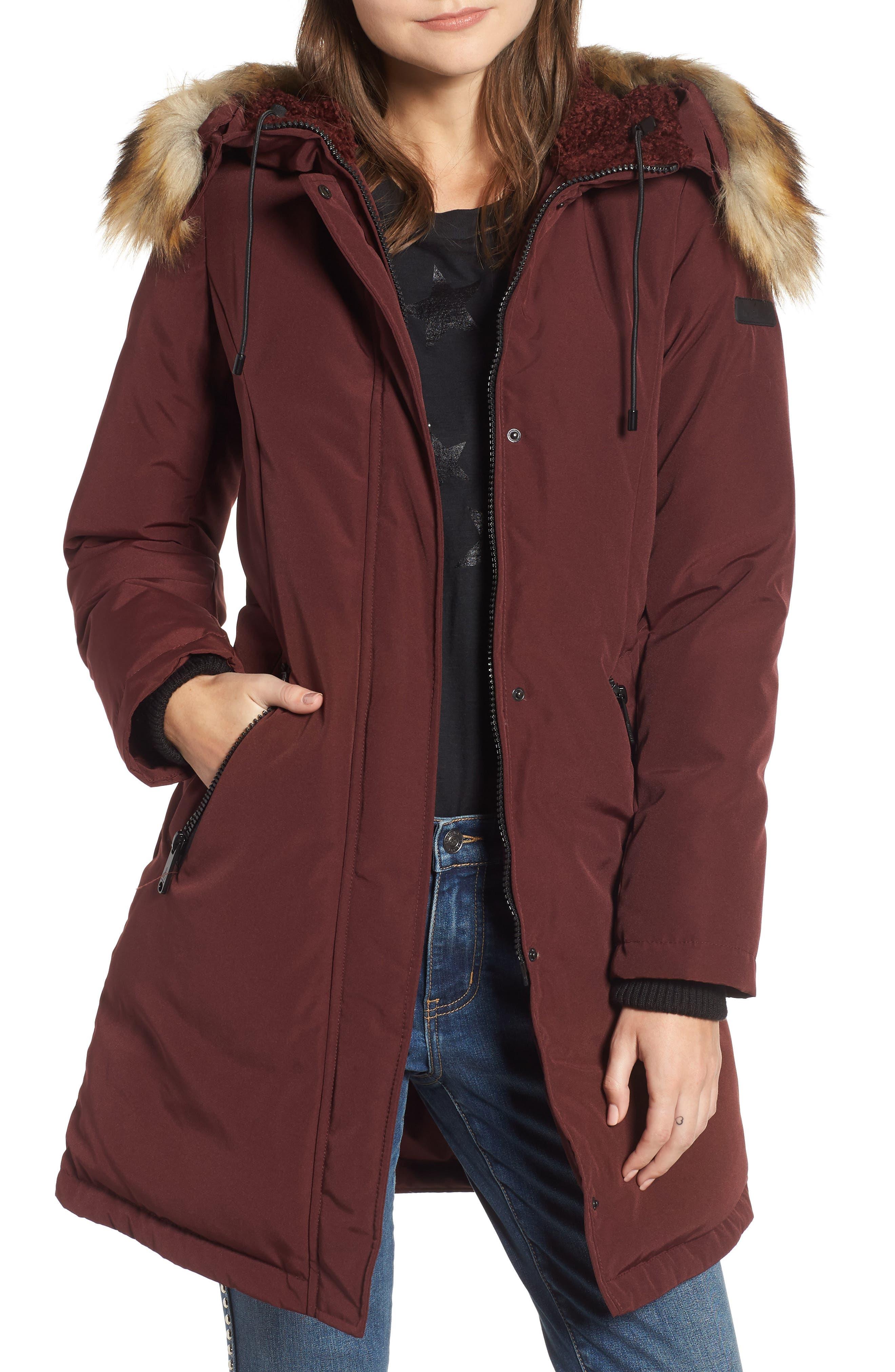 SAM EDELMAN Faux Fur Trim Down Jacket, Main, color, BURGUNDY