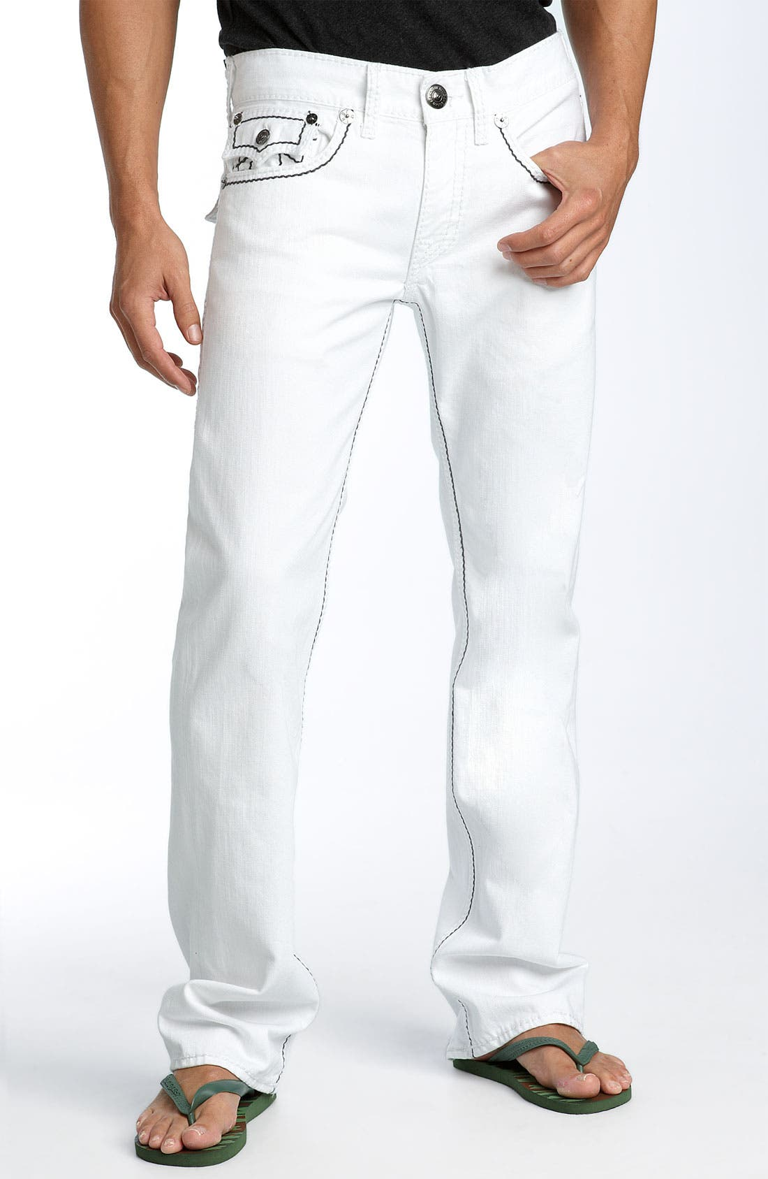 'Ricky - Giant Big T' Straight Leg Jeans,                             Alternate thumbnail 2, color,                             100