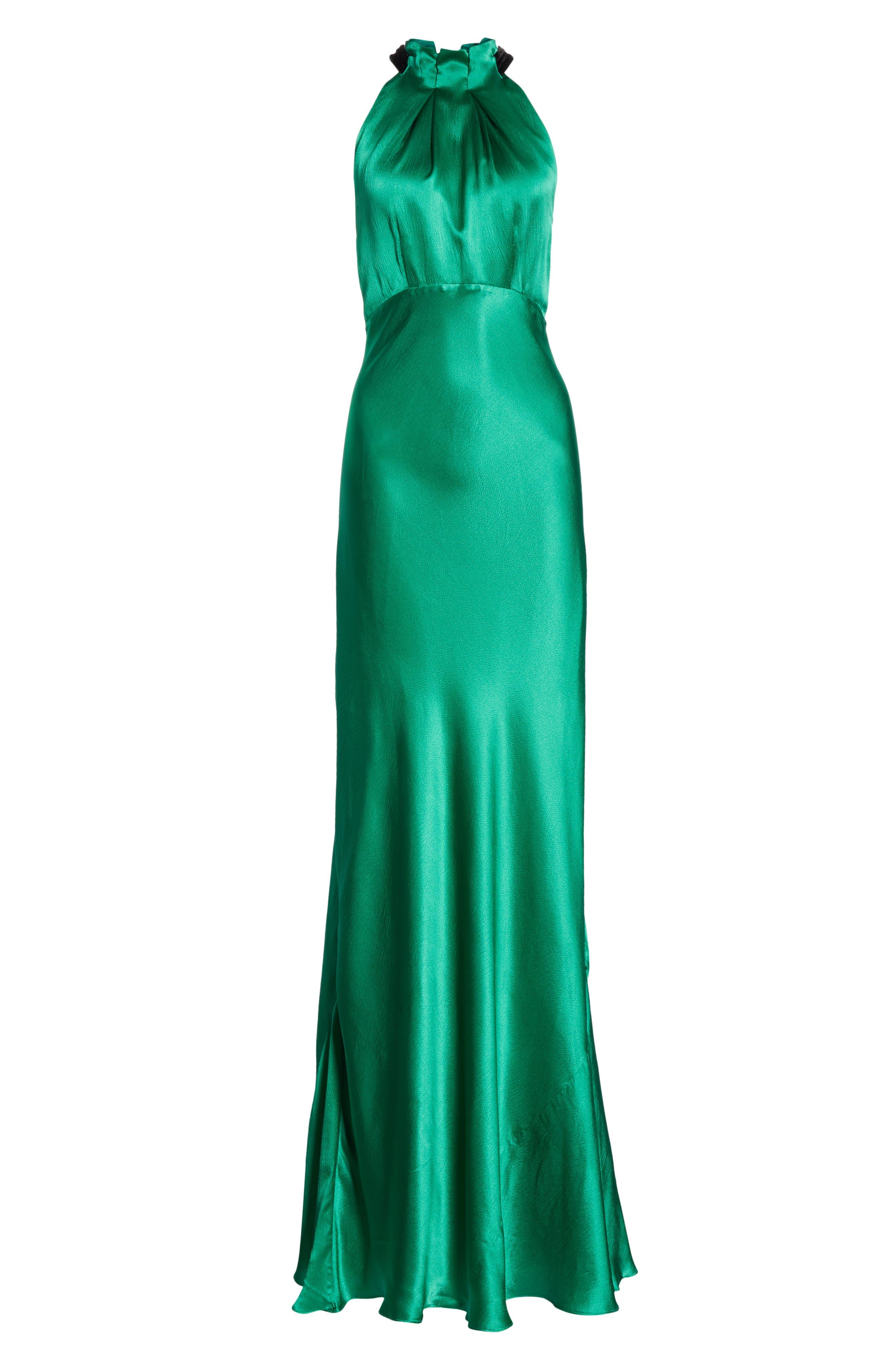 Michelle Velvet Bow Silk Halter Gown,                             Alternate thumbnail 6, color,                             EMERALD GREEN