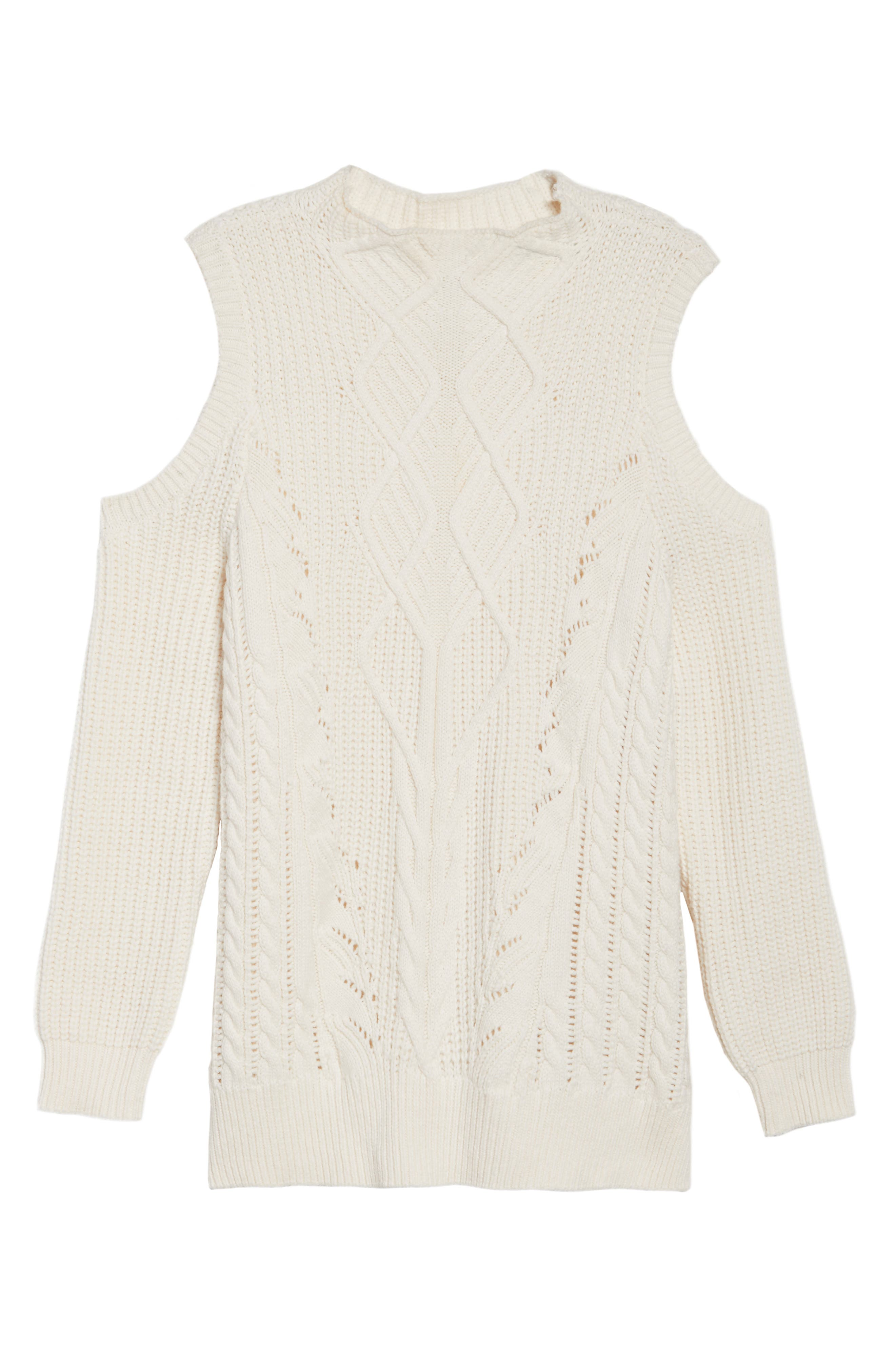 Cold Shoulder Cable Sweater,                             Alternate thumbnail 15, color,
