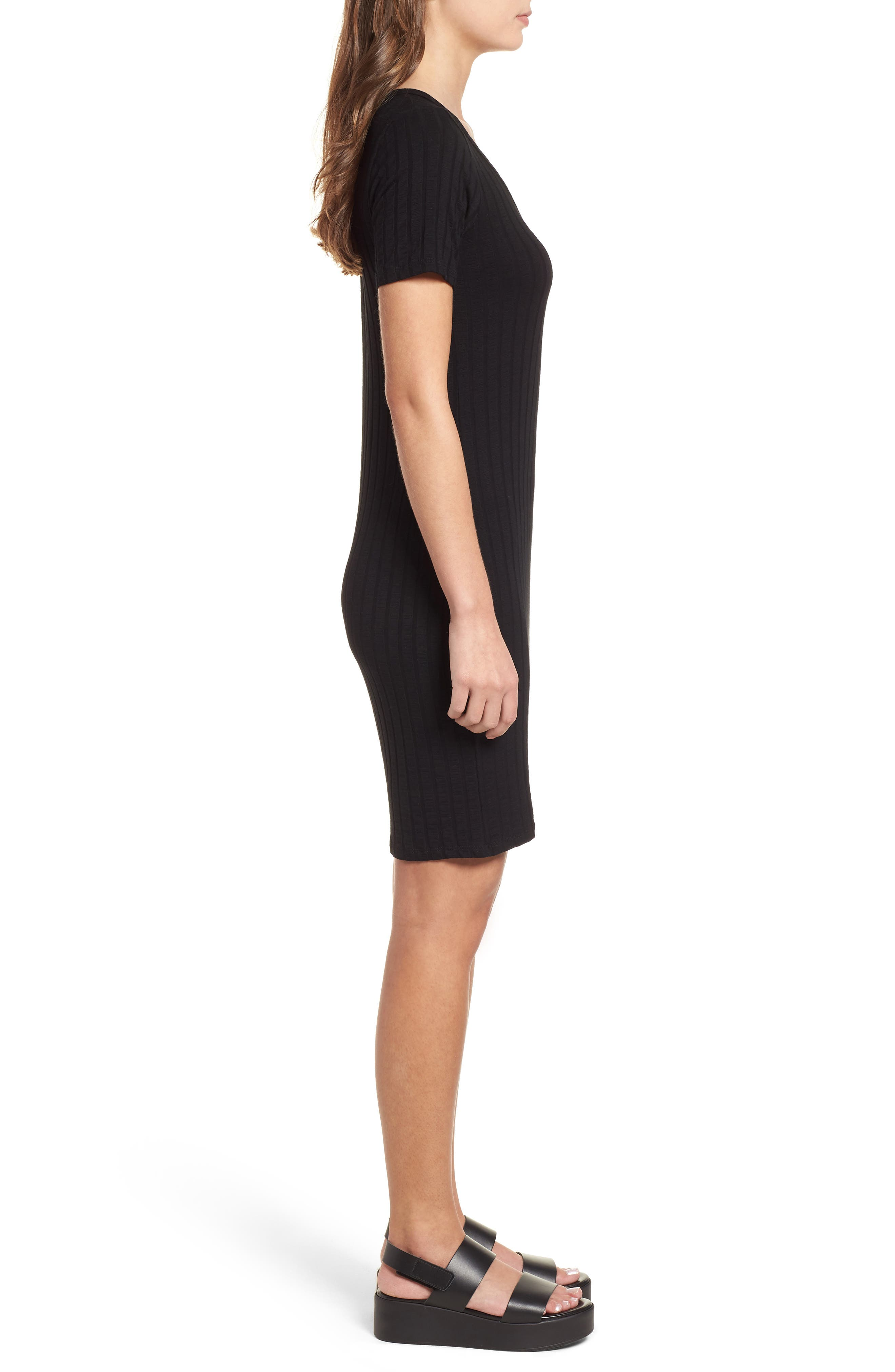 Project Social T Ribbed Body-Con Dress,                             Alternate thumbnail 3, color,                             001