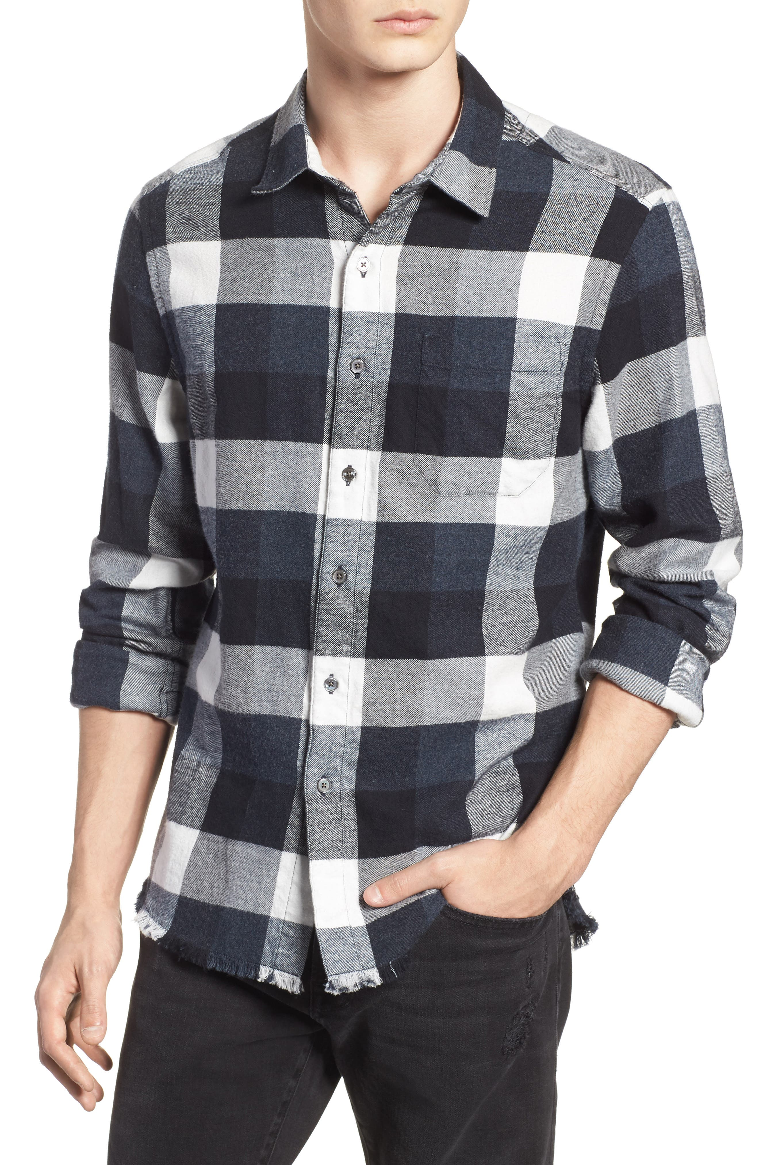Classic Fit Flannel Sport Shirt,                             Main thumbnail 1, color,                             001