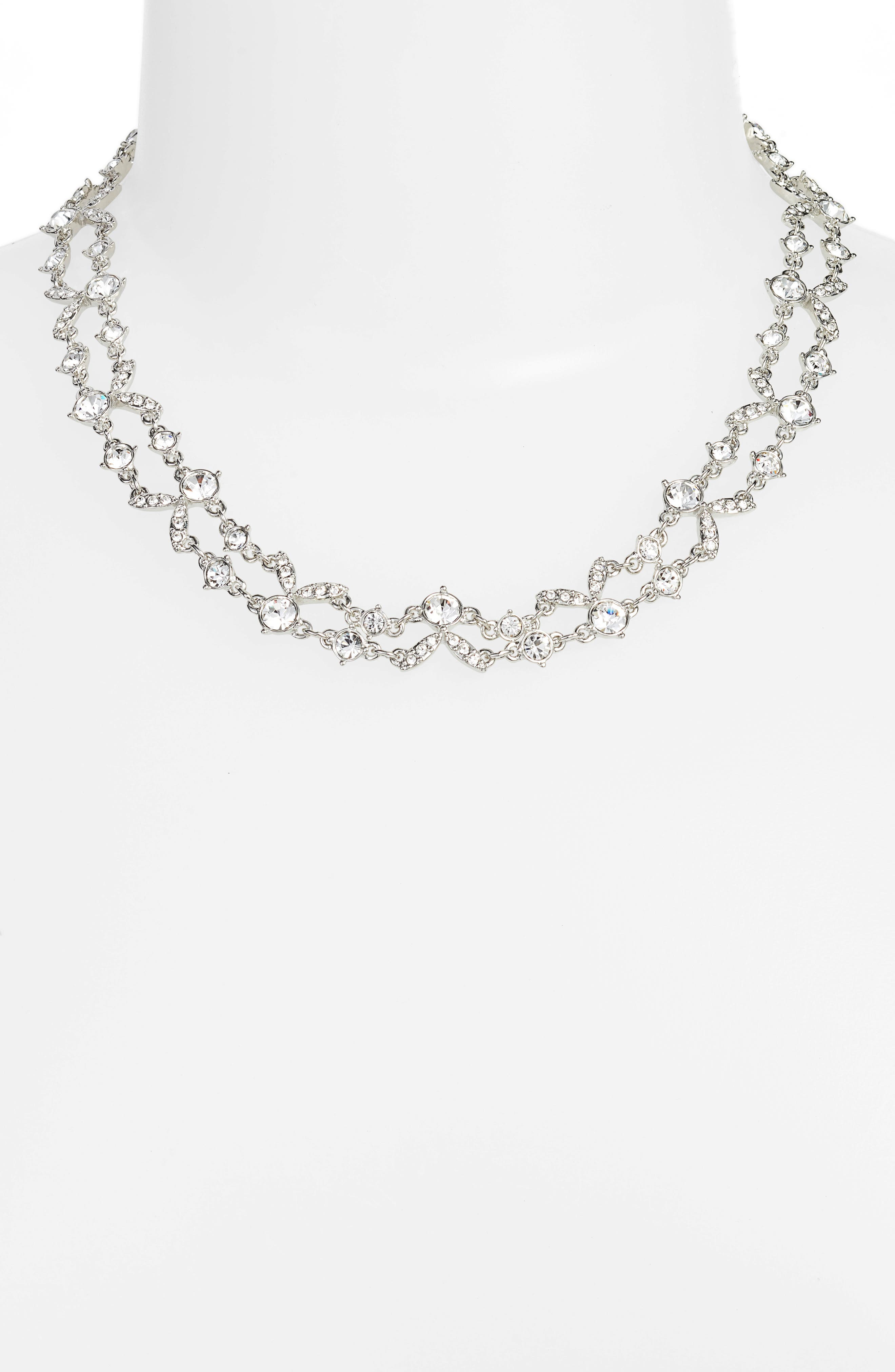 2-Row Crystal Collar Necklace,                             Alternate thumbnail 2, color,                             040
