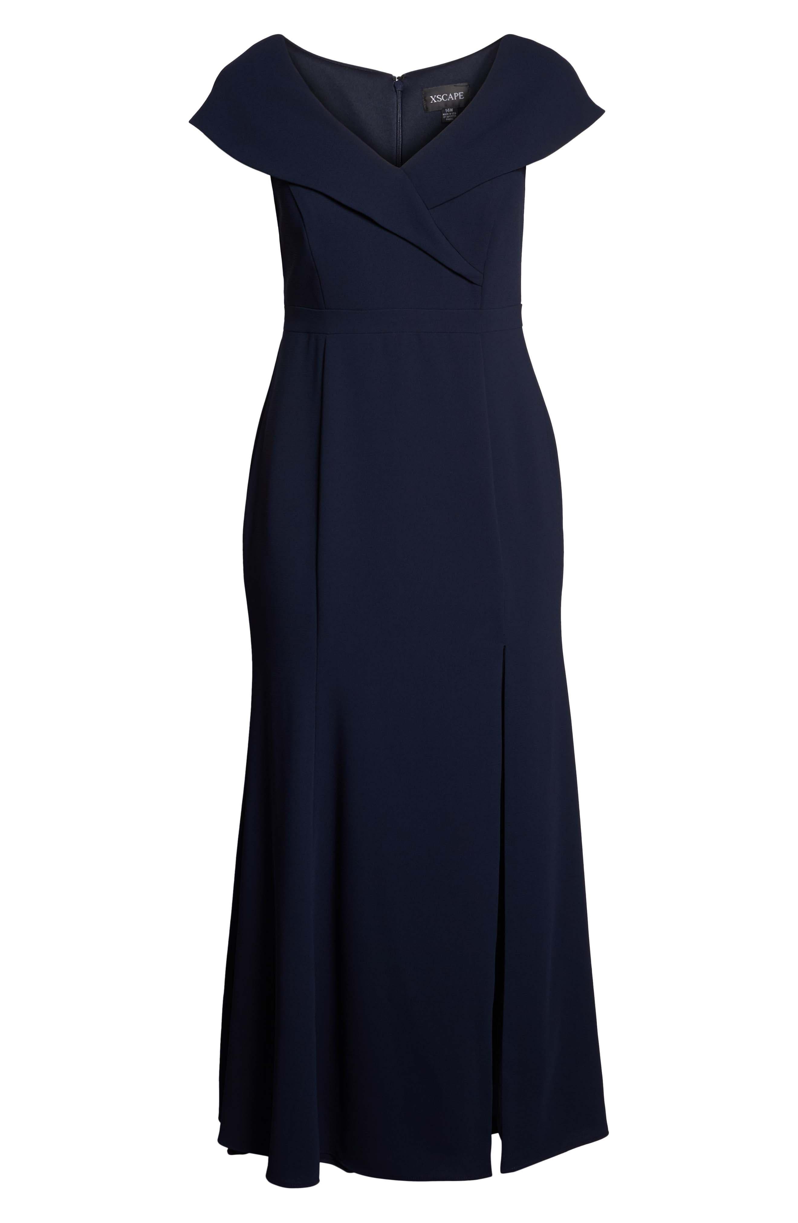 Foldover V-Neck Gown,                             Alternate thumbnail 7, color,                             NAVY