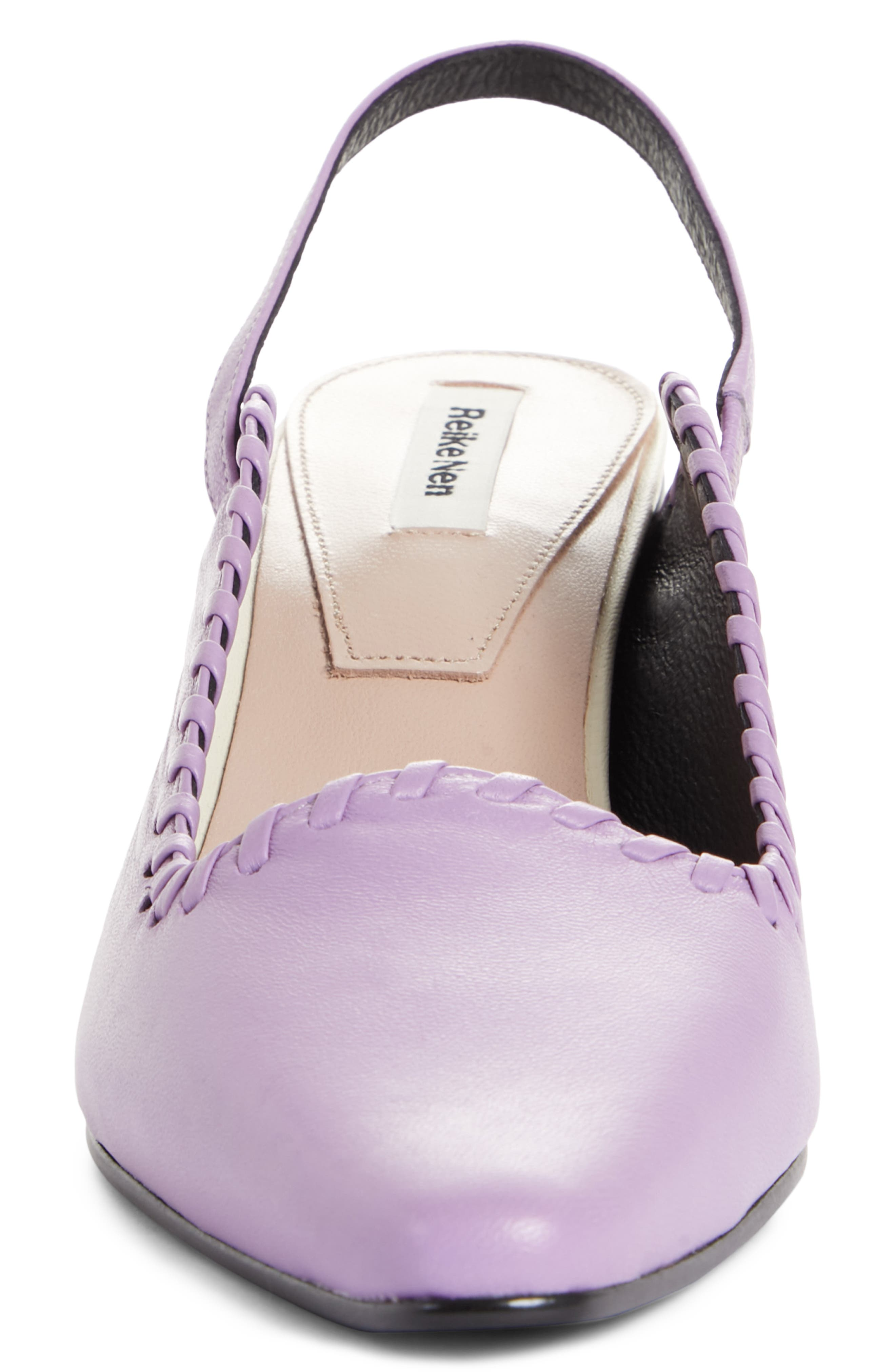 Curved Middle Slingback Pump,                             Alternate thumbnail 4, color,                             PURPLE IVORY