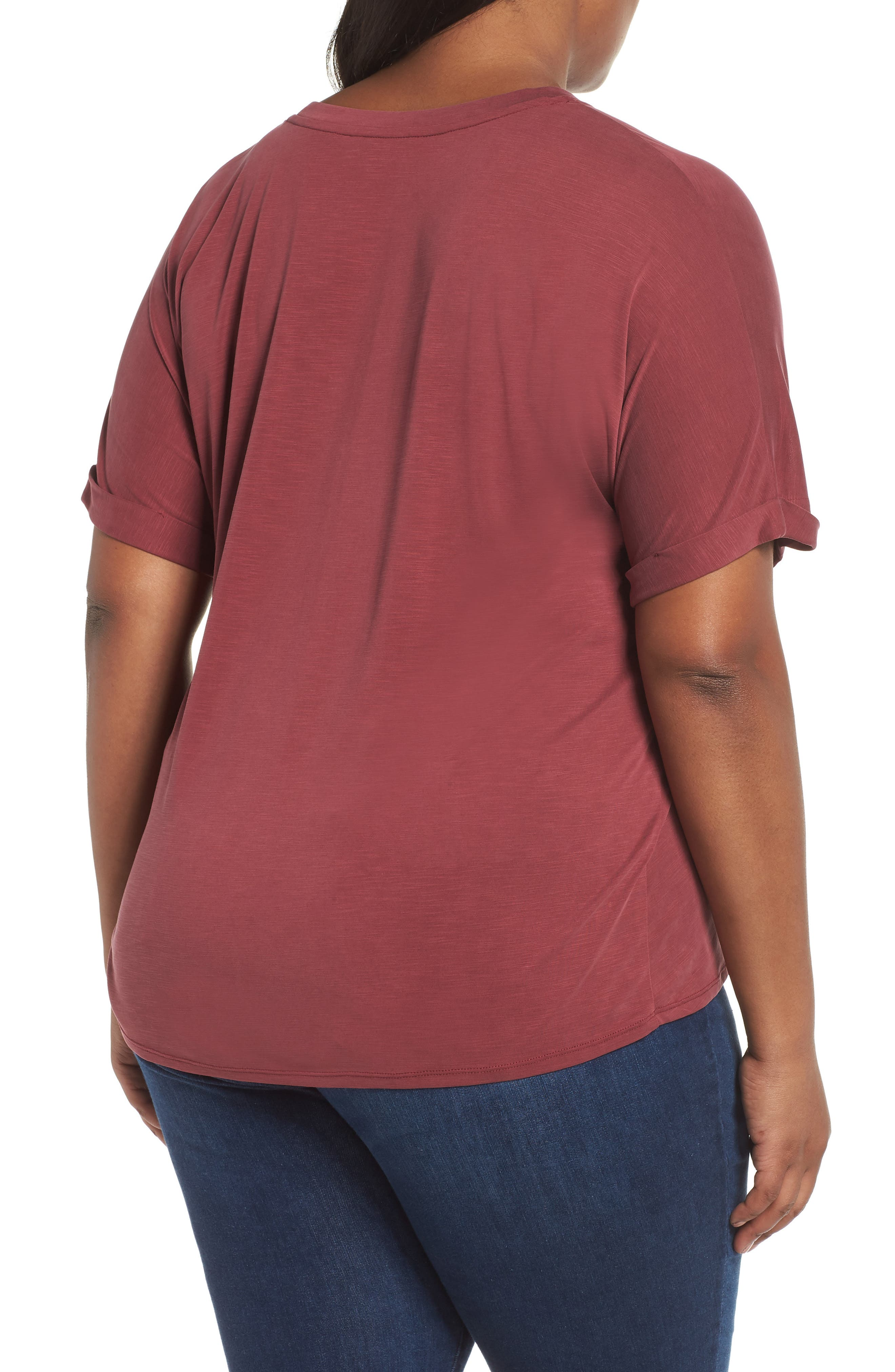 NIC+ZOE,                             Boardwalk Tee,                             Alternate thumbnail 2, color,                             WASHED RAISIN