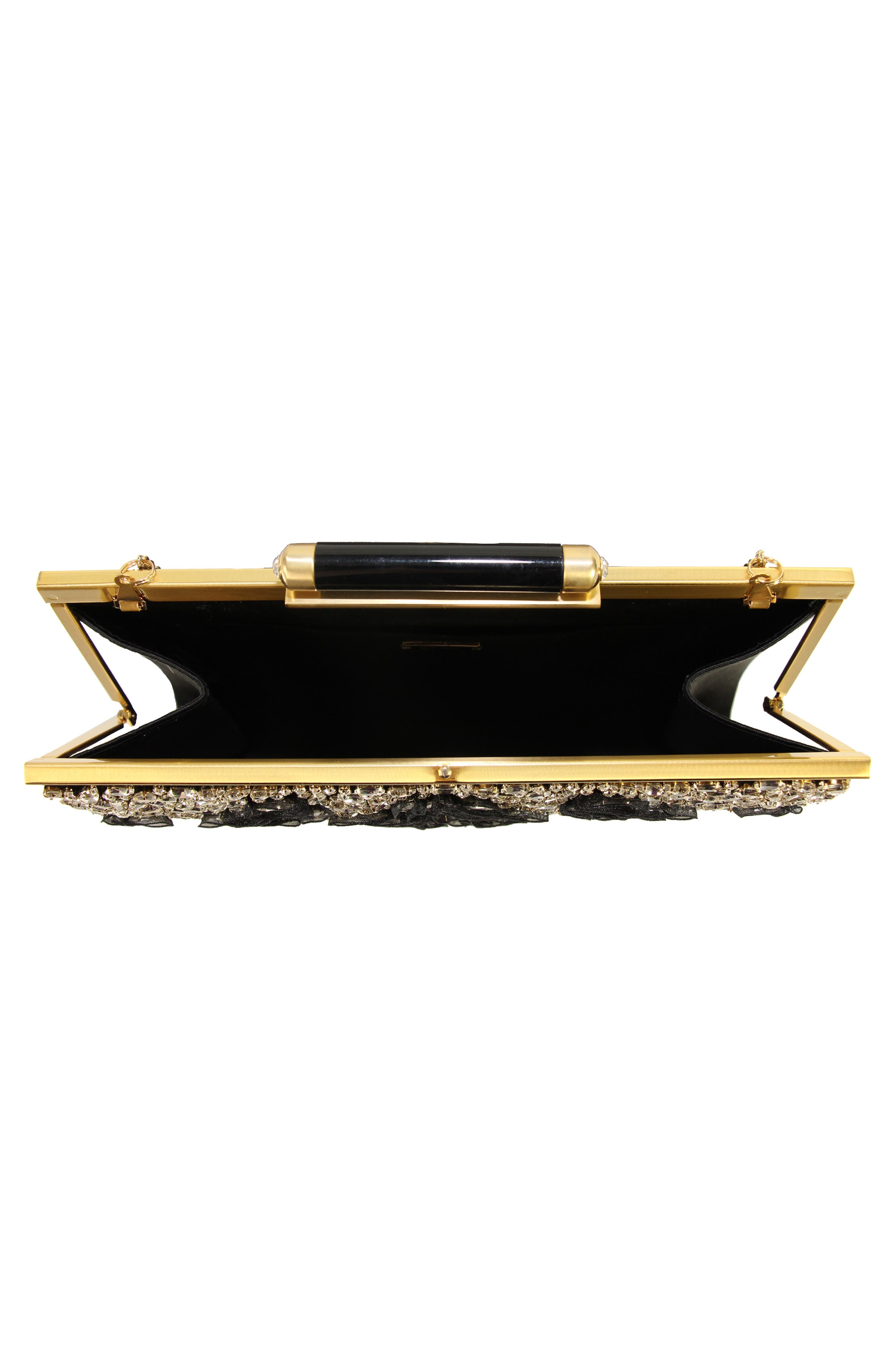 Gala Embellished Frame Clutch,                             Alternate thumbnail 3, color,                             001