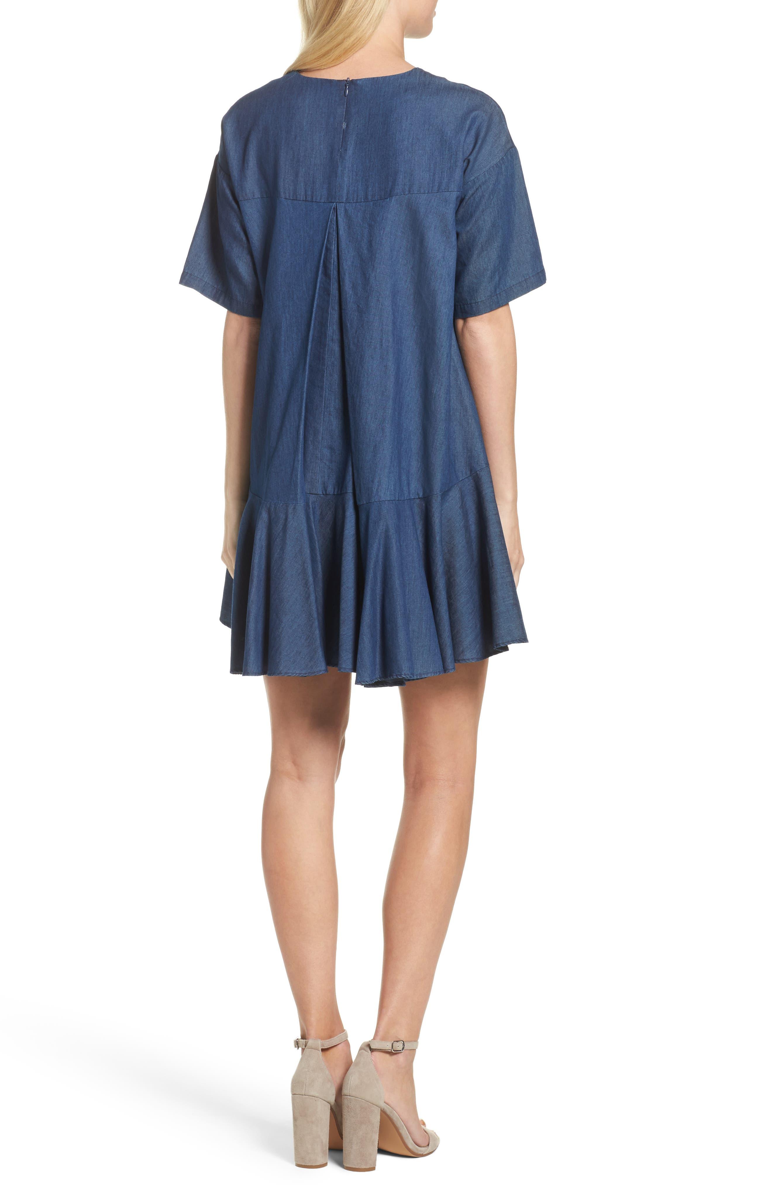 Arrow Chambray Babydoll Dress,                             Alternate thumbnail 2, color,                             478