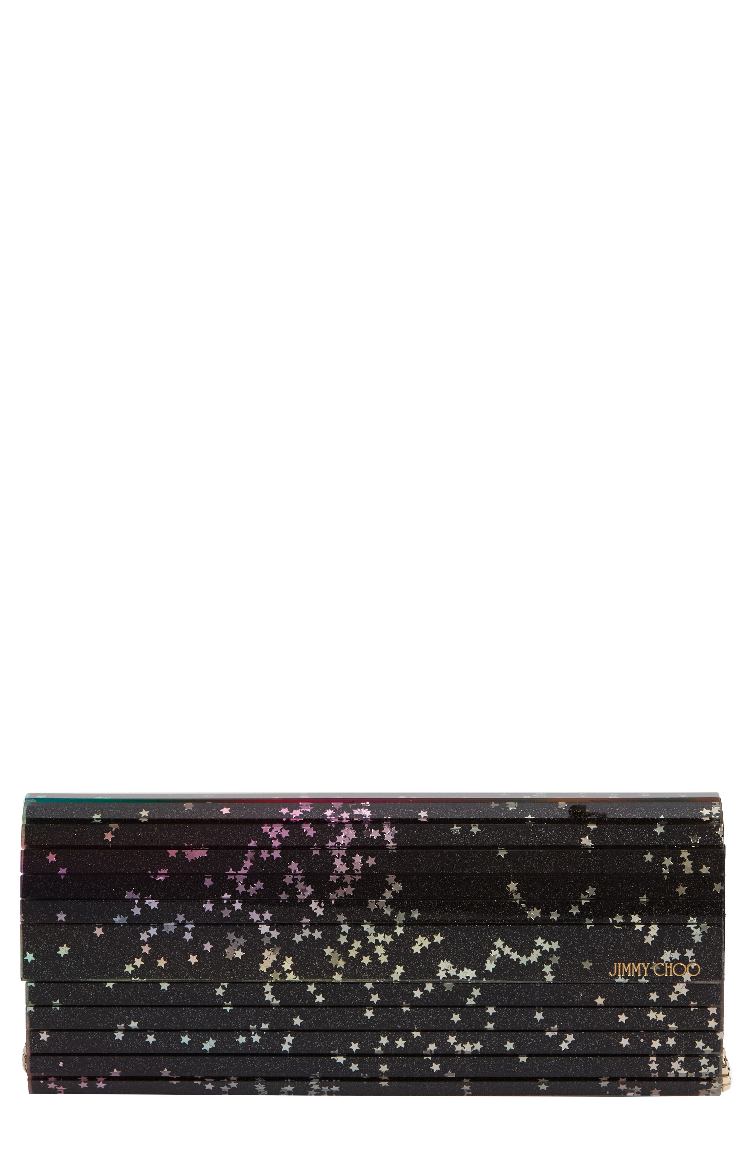 Sweetie Star Clutch,                             Main thumbnail 1, color,                             BLACK MULTI