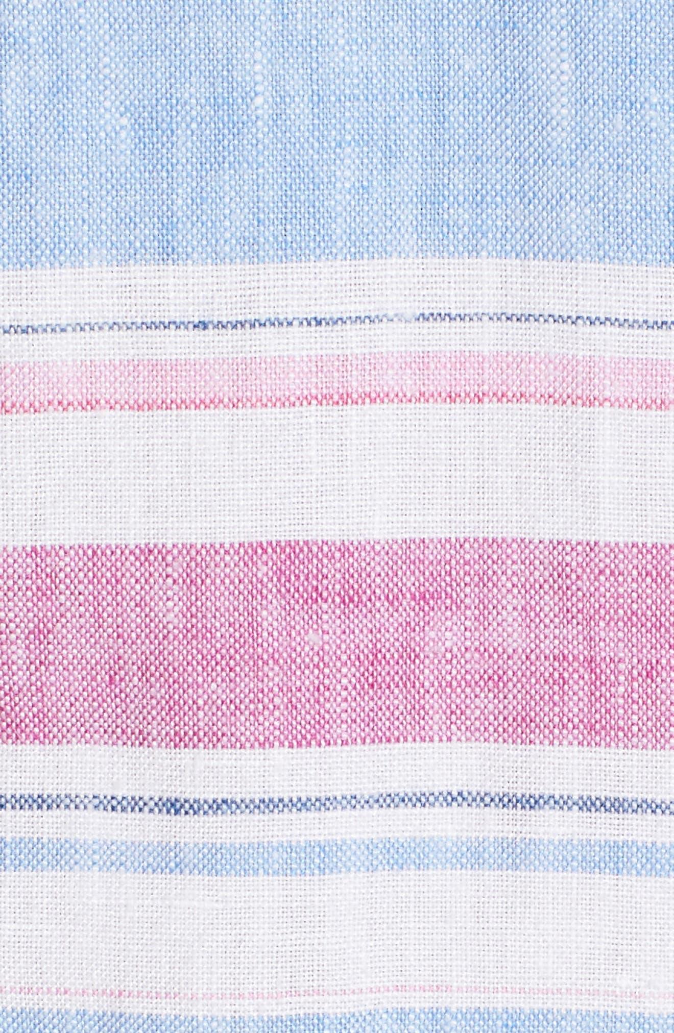 Tulum Stripe Linen Hoodie,                             Alternate thumbnail 5, color,                             MOUNTAIN BLUEBELL