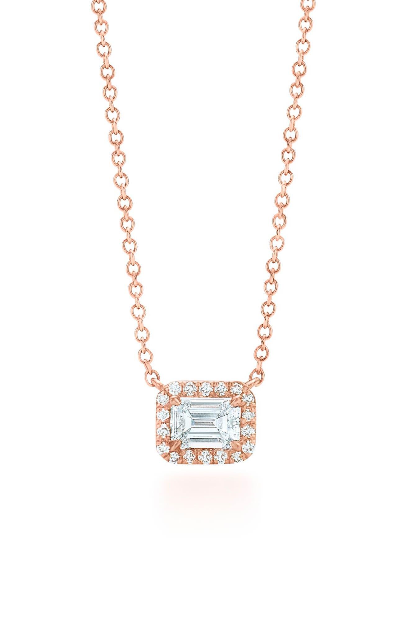 Emerald Cut Diamond Pendant Necklace,                             Main thumbnail 1, color,                             ROSE GOLD