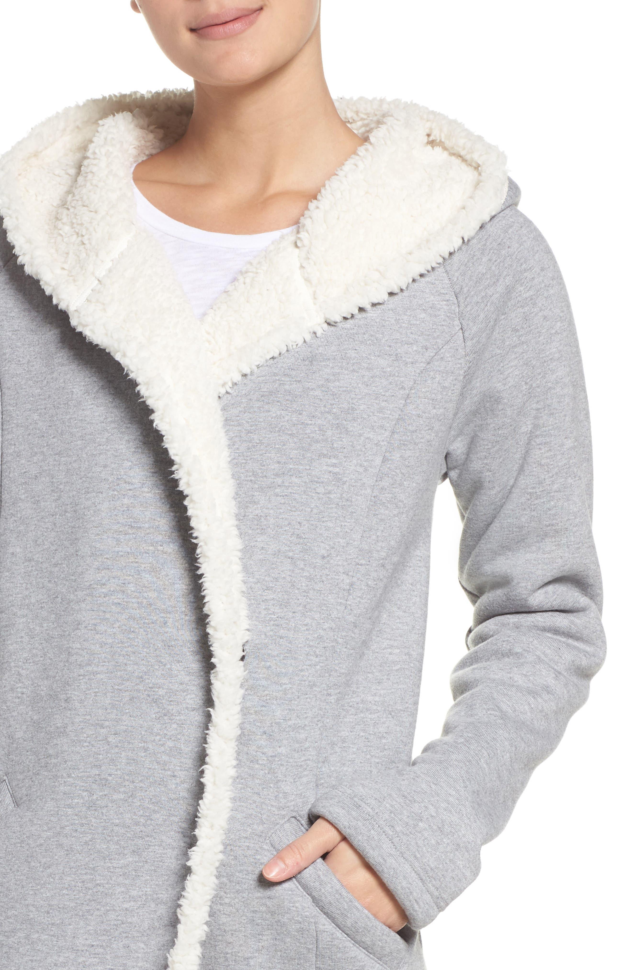 Chalet Fleece Lined Hooded Wrap,                             Alternate thumbnail 4, color,                             030