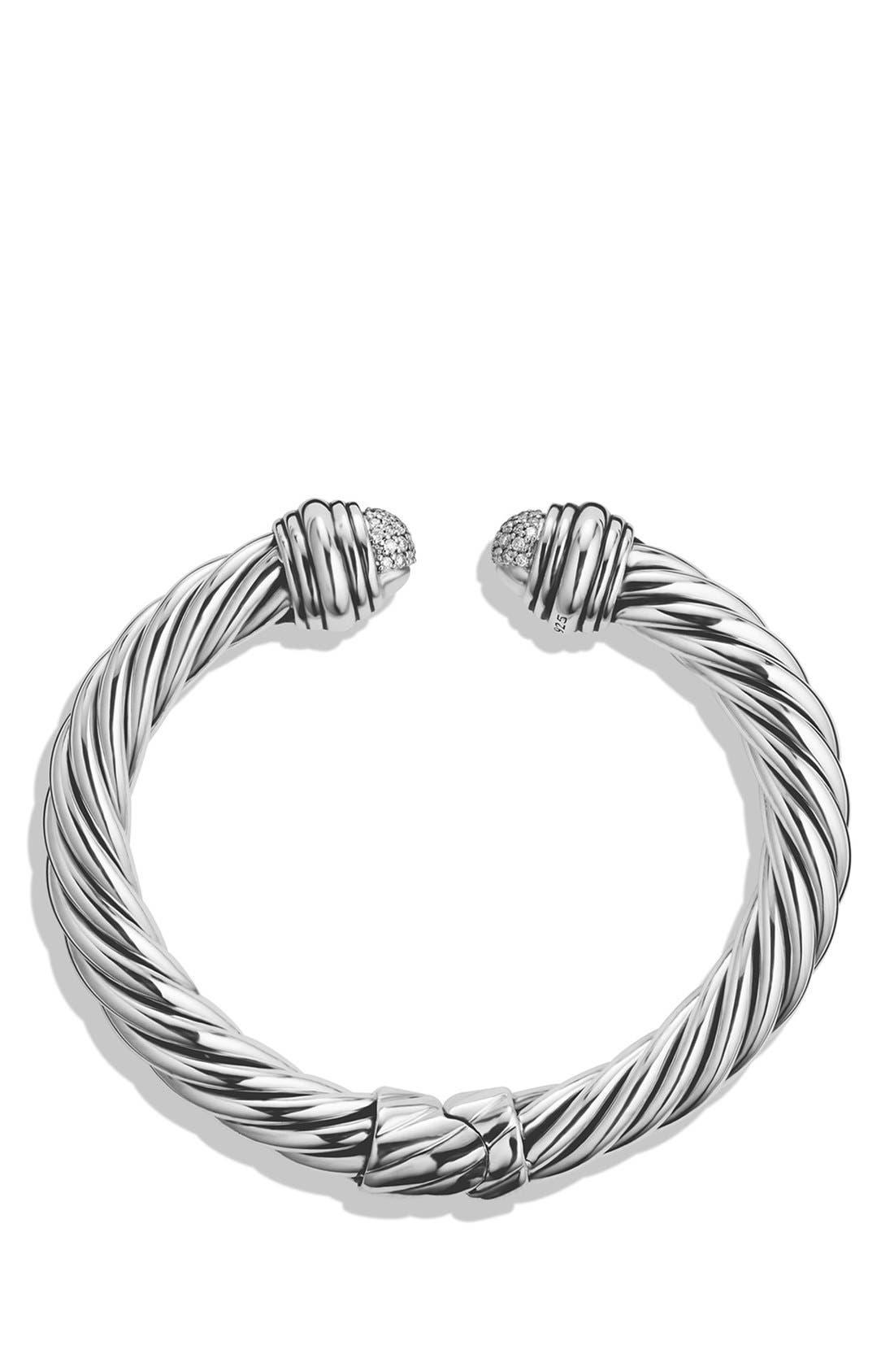 Cable Classics Pavé Tip Bracelet with Diamonds, 8.5mm,                             Alternate thumbnail 3, color,                             DIAMOND