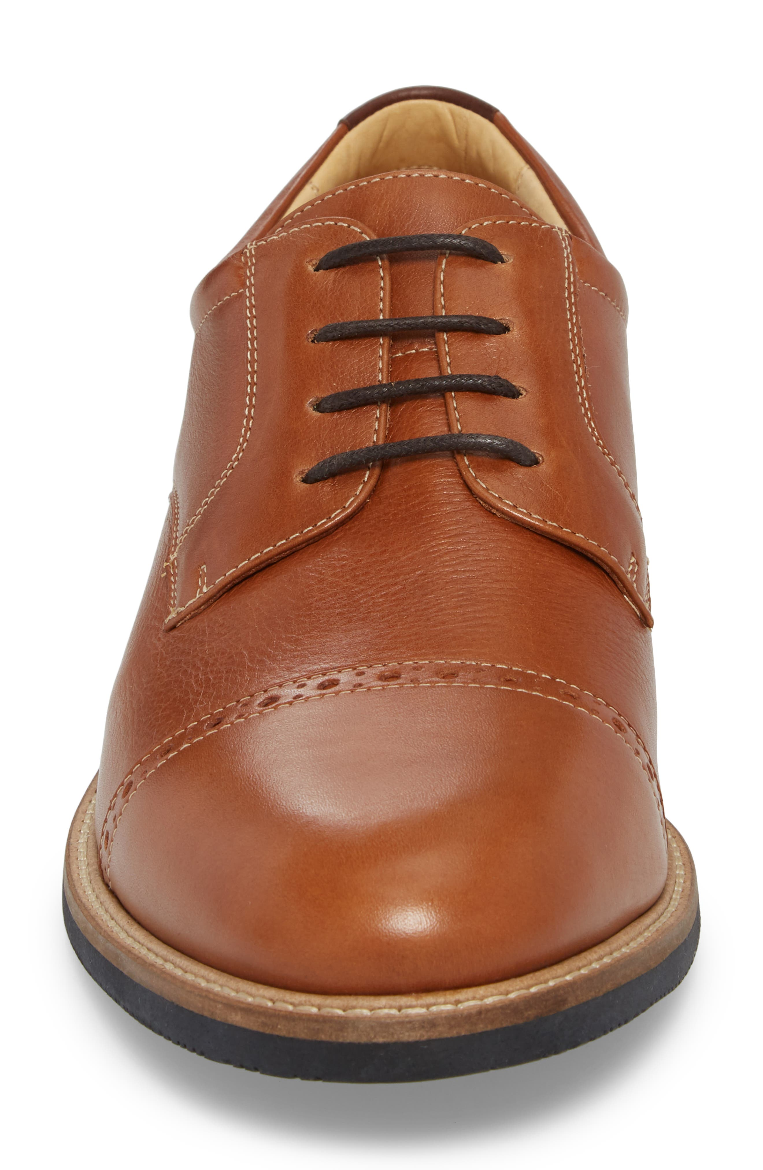 JOHNSTON & MURPHY,                             Barlow Cap Toe Derby,                             Alternate thumbnail 4, color,                             TAN LEATHER