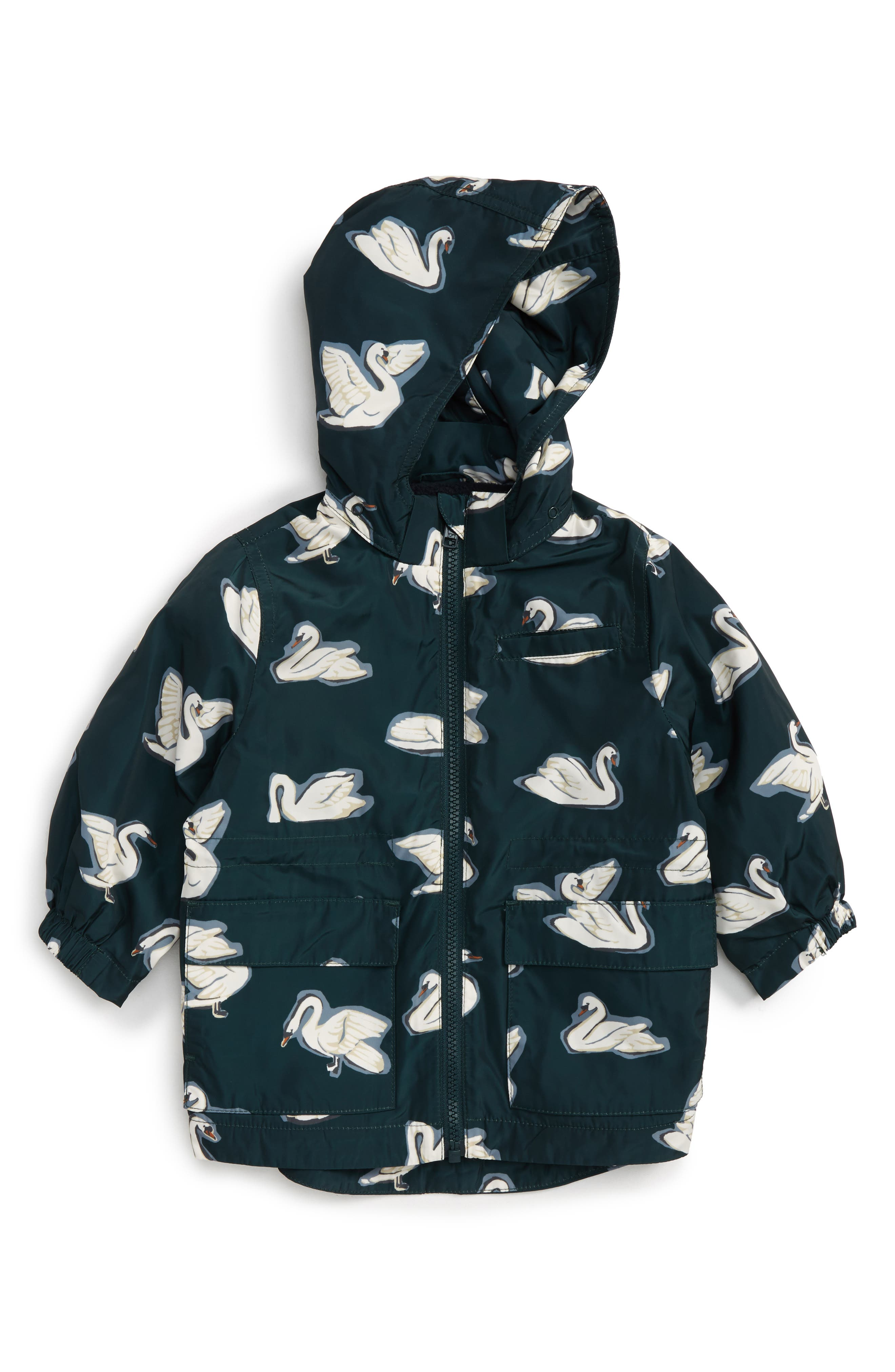 Beck Swan Print Waterproof Jacket with Removable Hood,                         Main,                         color, 460