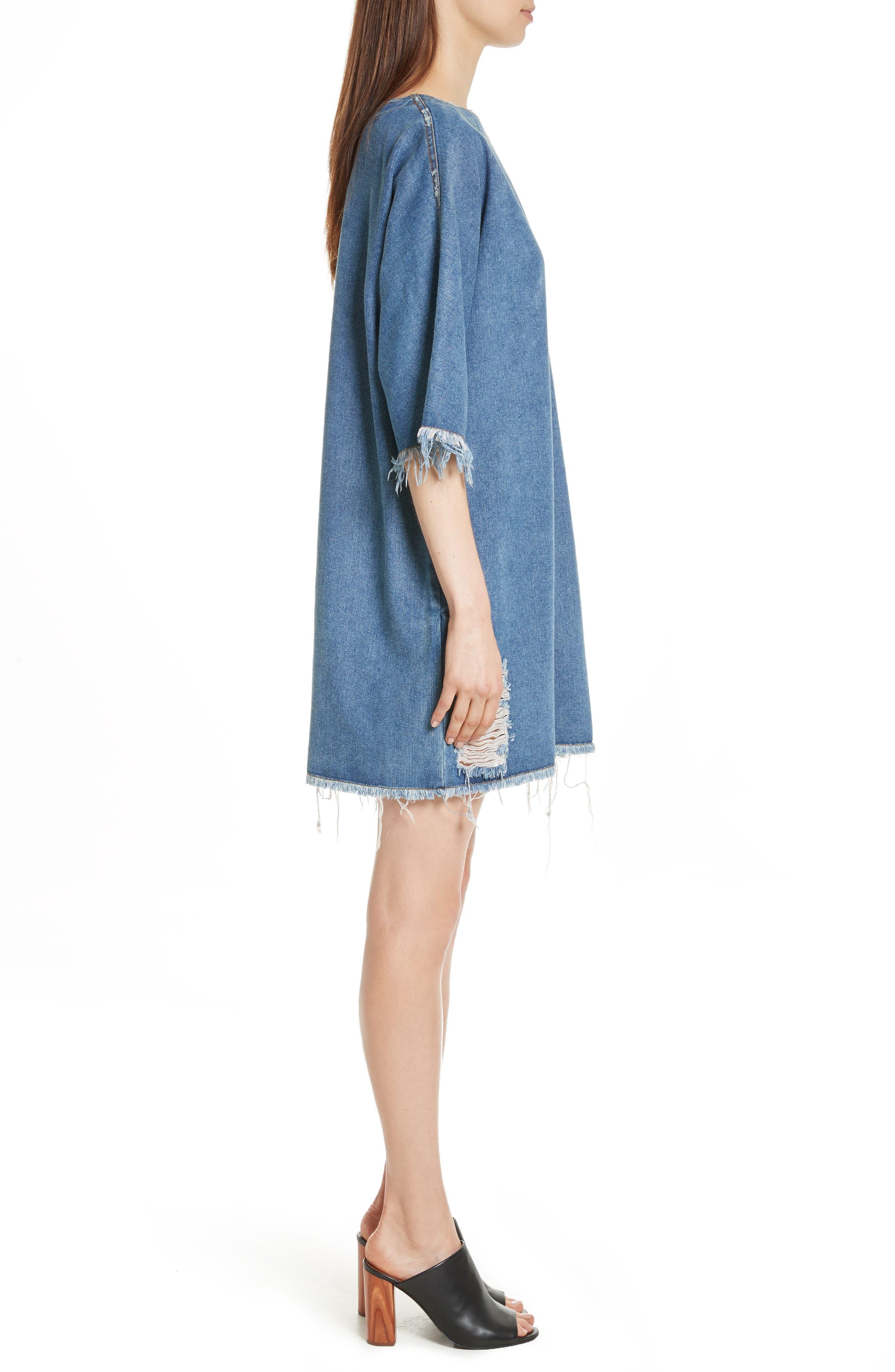 Distressed Denim Dress,                             Alternate thumbnail 3, color,                             400