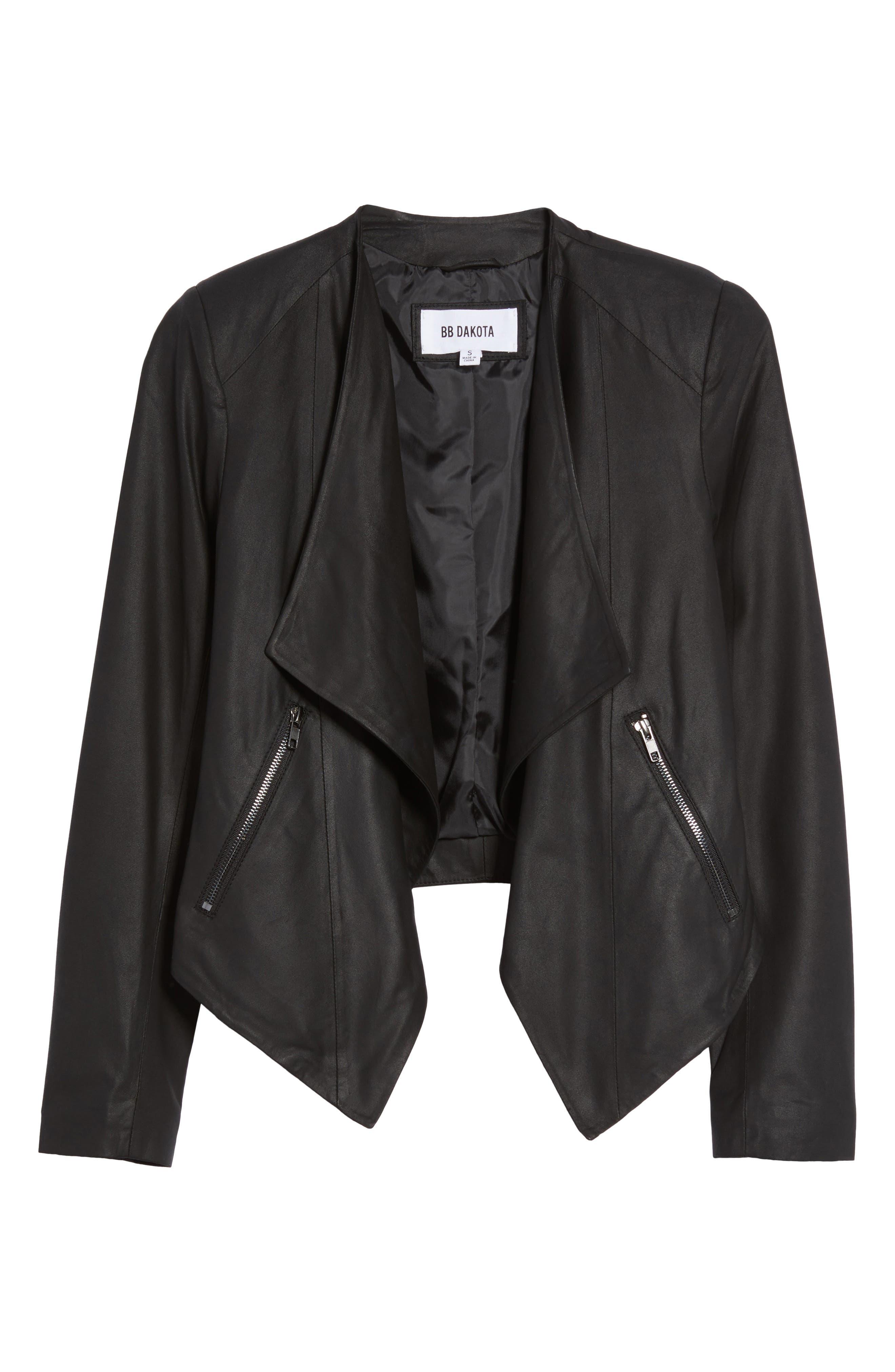 Brycen Leather Drape Front Jacket,                             Alternate thumbnail 5, color,                             001