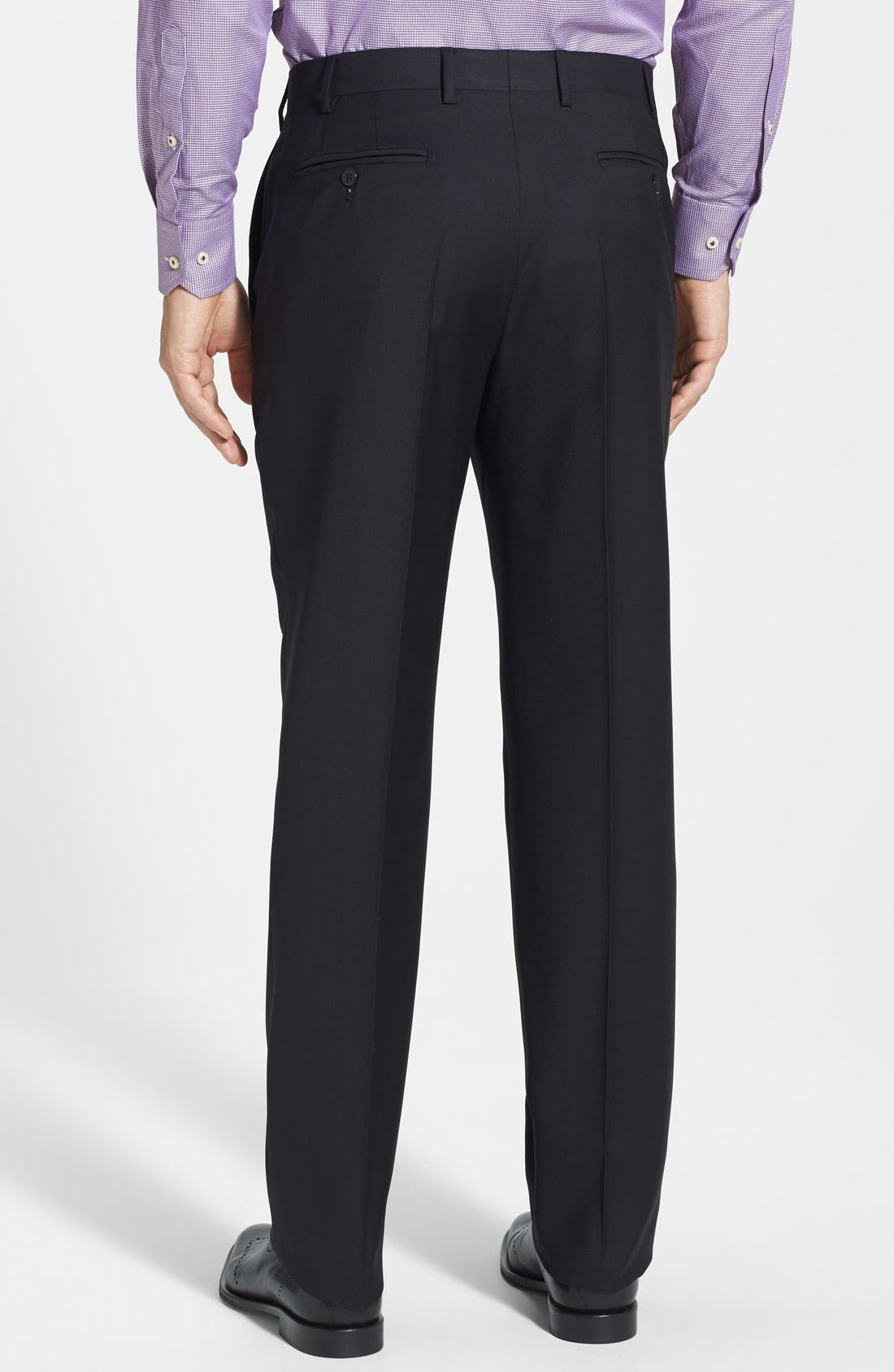 'Devon' Flat Front Wool Trousers,                             Alternate thumbnail 12, color,