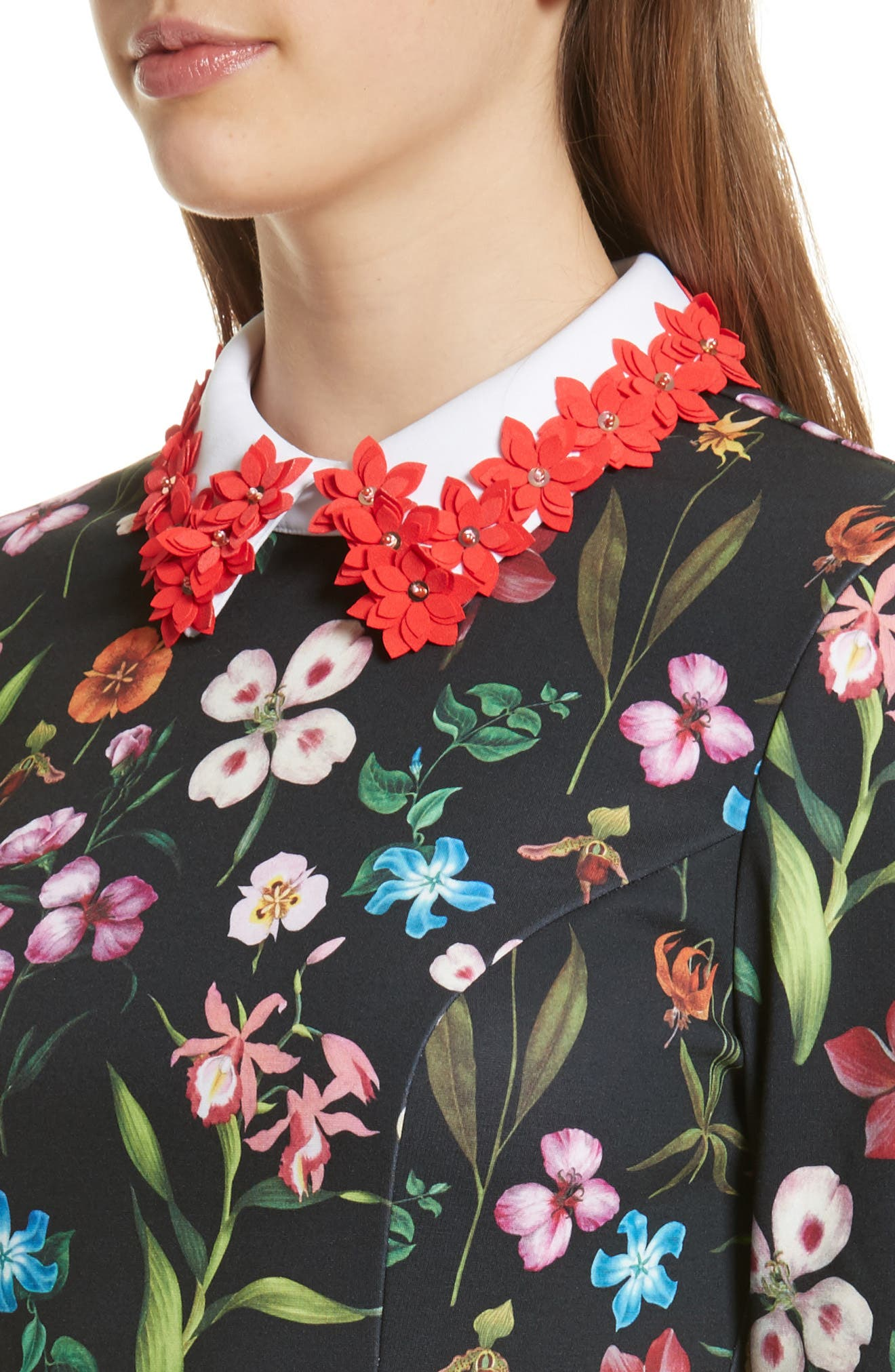 Hampton Embellished Collar Floral Dress,                             Alternate thumbnail 4, color,