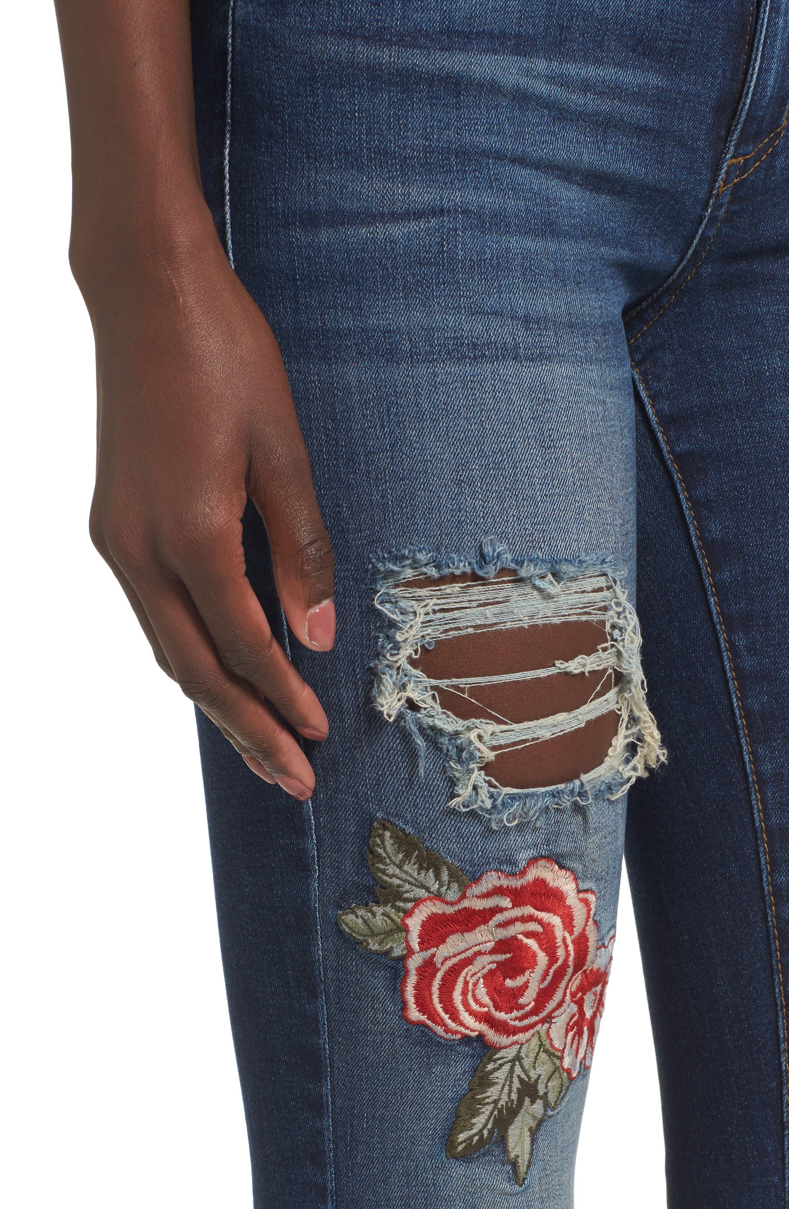 Emma Rose Embroidered Step Hem Jeans,                             Alternate thumbnail 4, color,                             400