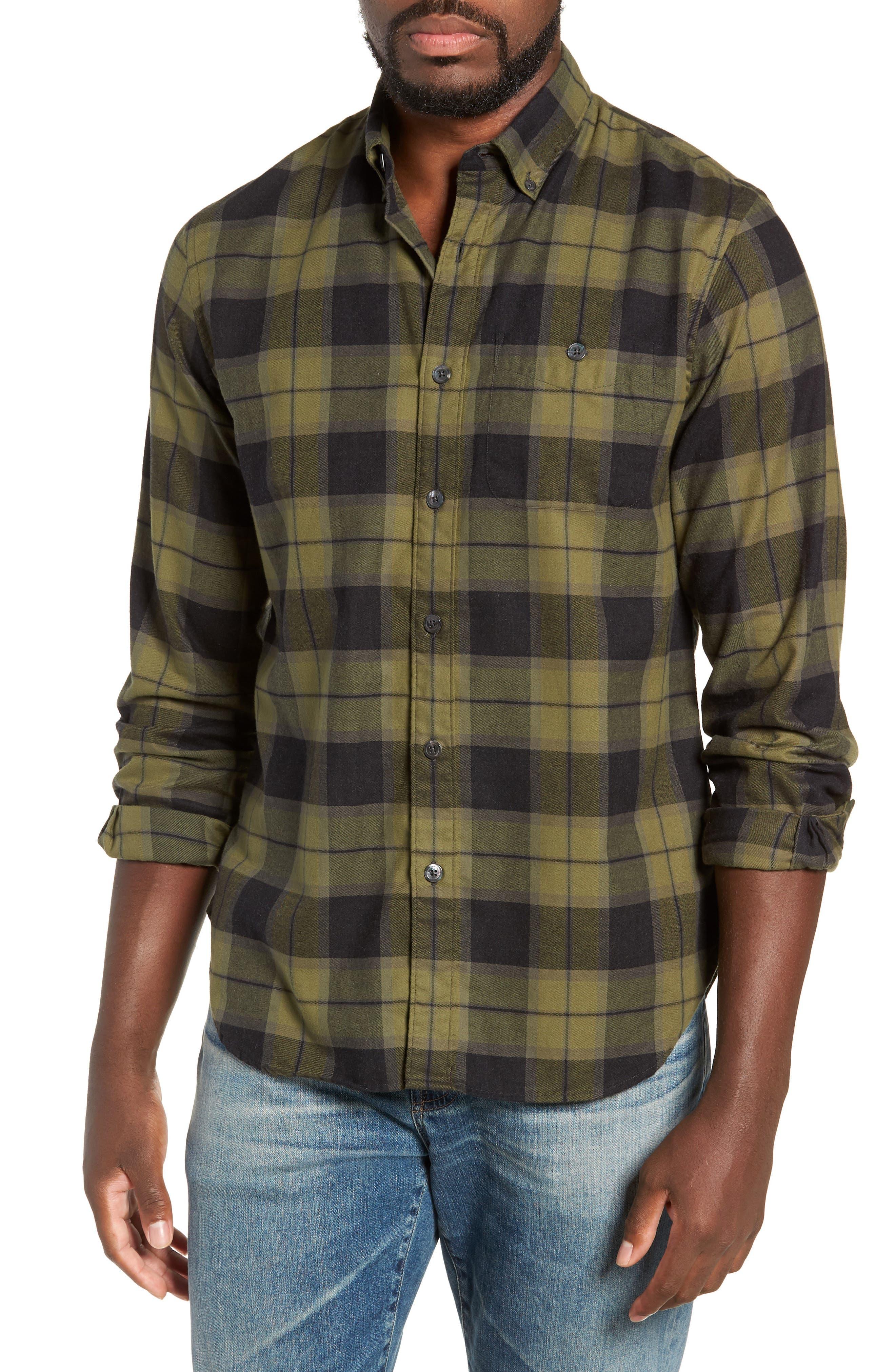 Classic Fit Plaid Flannel Sport Shirt,                         Main,                         color, OLIVE