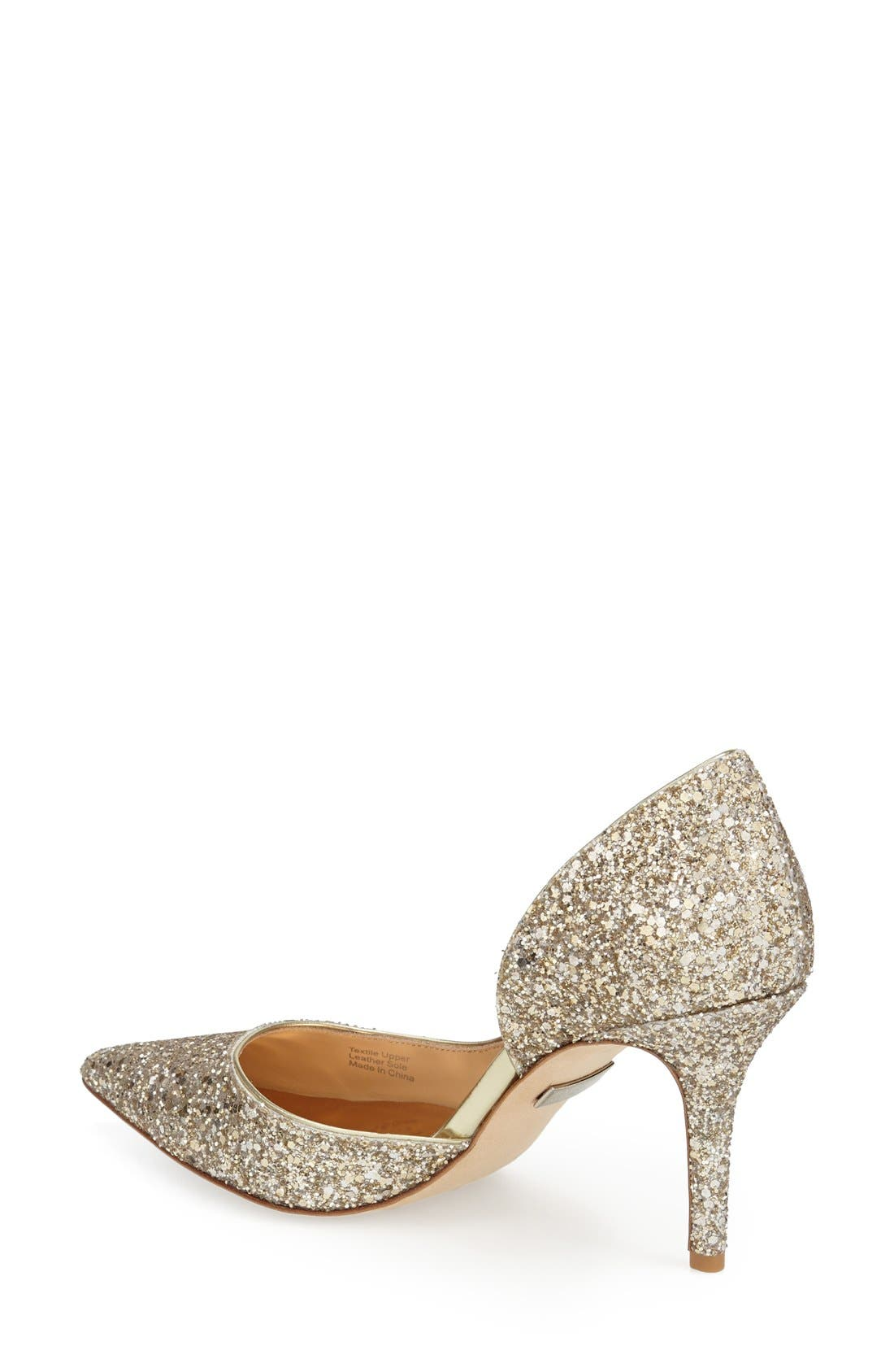 'Daisy' Embellished Pointy Toe Pump,                             Alternate thumbnail 3, color,                             PLATINO GLITTER FABRIC