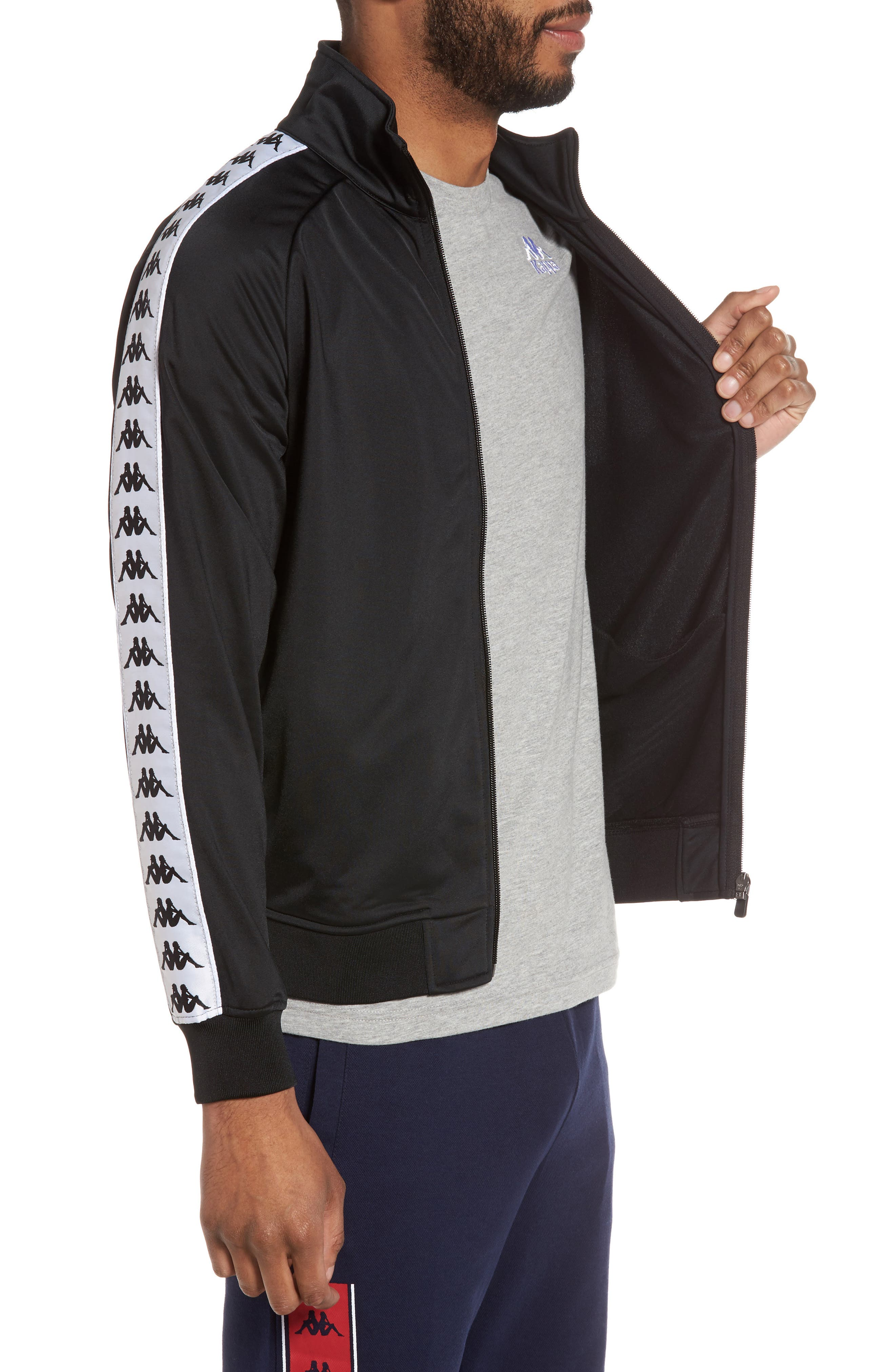 Anniston Slim Fit Knit Track Jacket,                             Alternate thumbnail 3, color,                             001