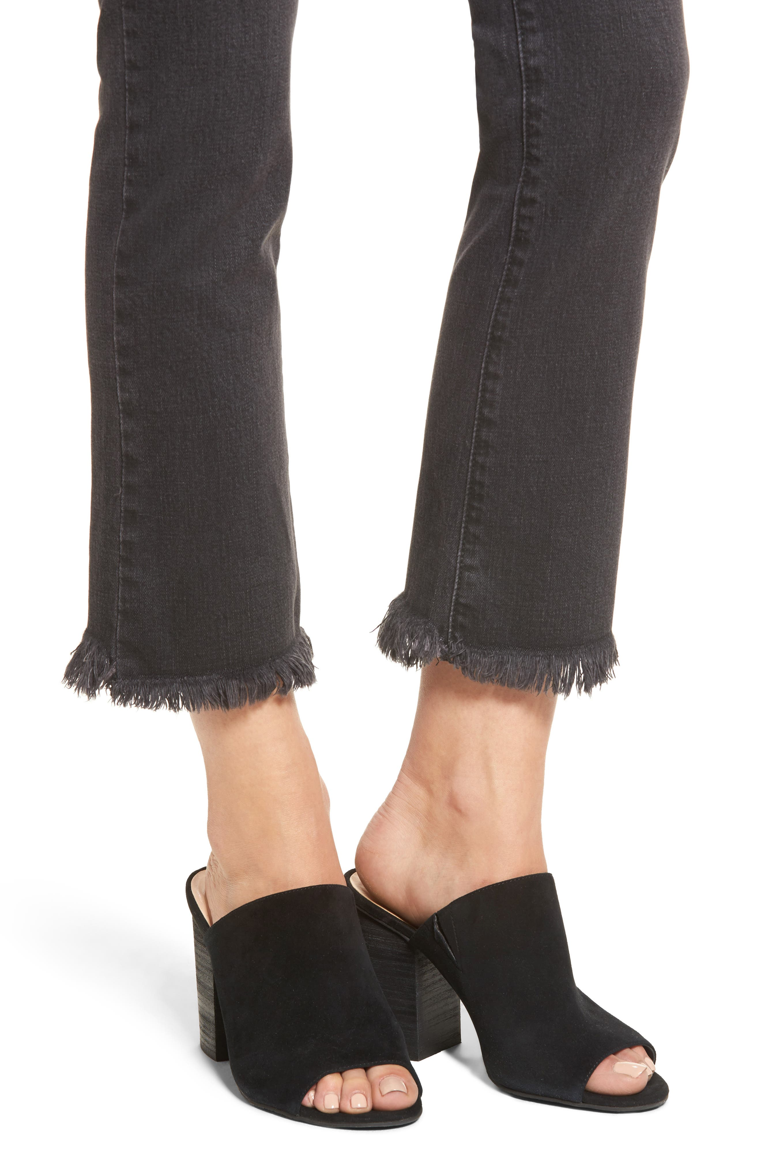 Hermosa Fray Hem Ankle Skinny Jeans,                             Alternate thumbnail 4, color,                             001