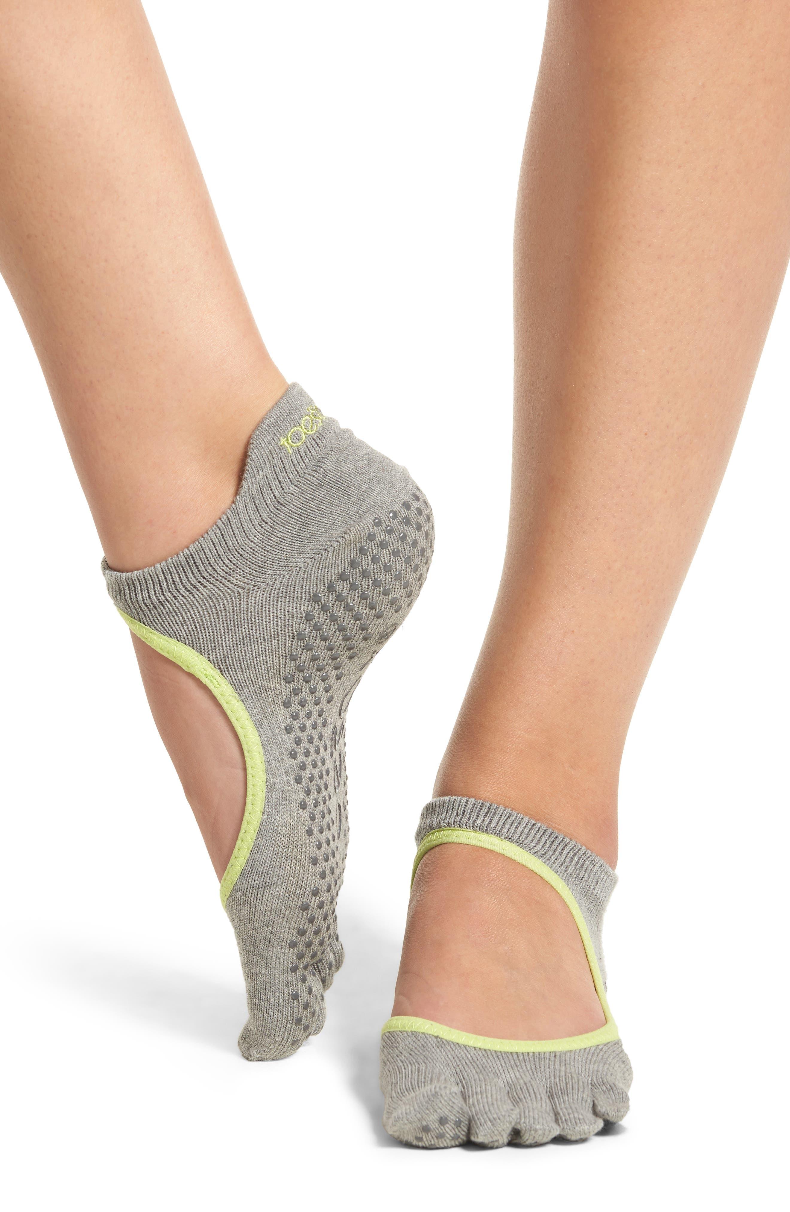 Bellarina Full Toe Gripper Socks,                             Alternate thumbnail 2, color,                             HEATHER GREY/ LIME