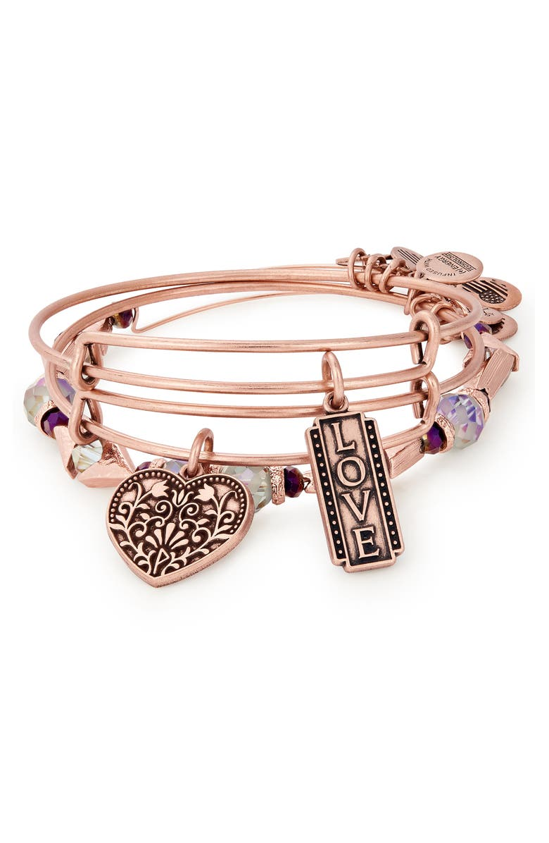 Alex And Ani LOVE SET OF 3 ADJUSTABLE WIRE BANGLES