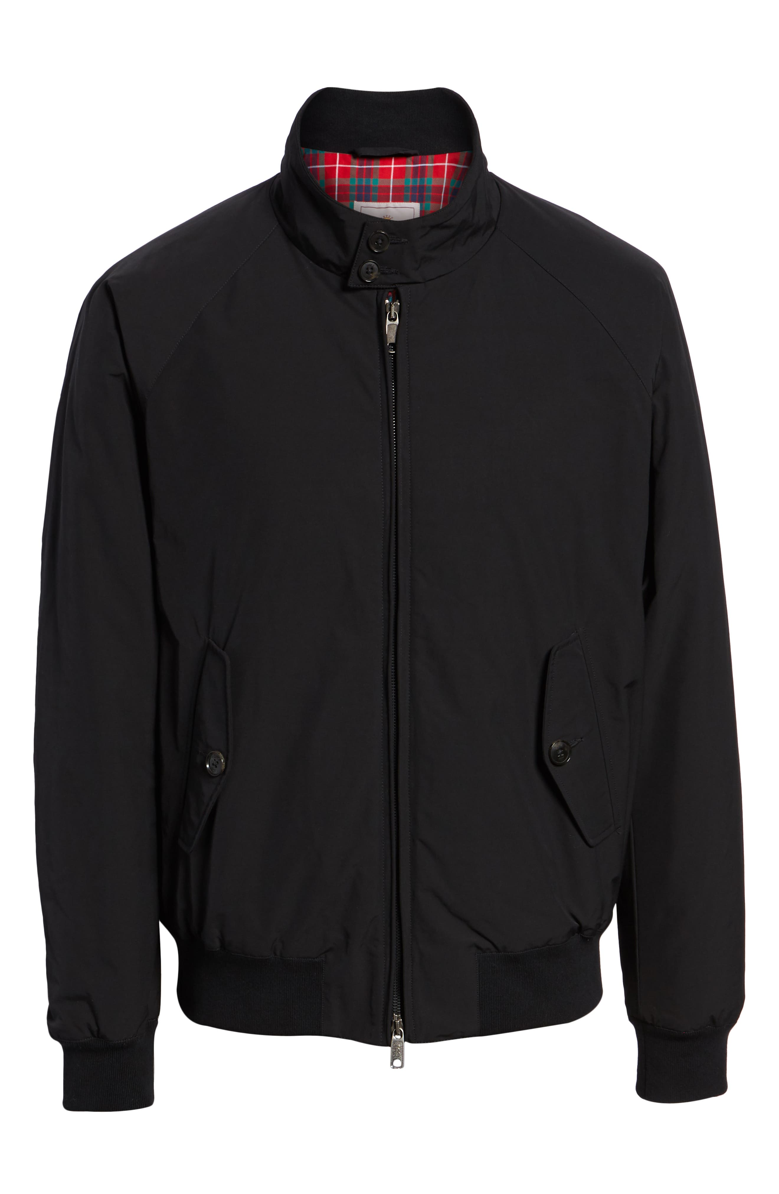 G9 Water Resistant Harrington Jacket,                             Alternate thumbnail 6, color,                             BLACK