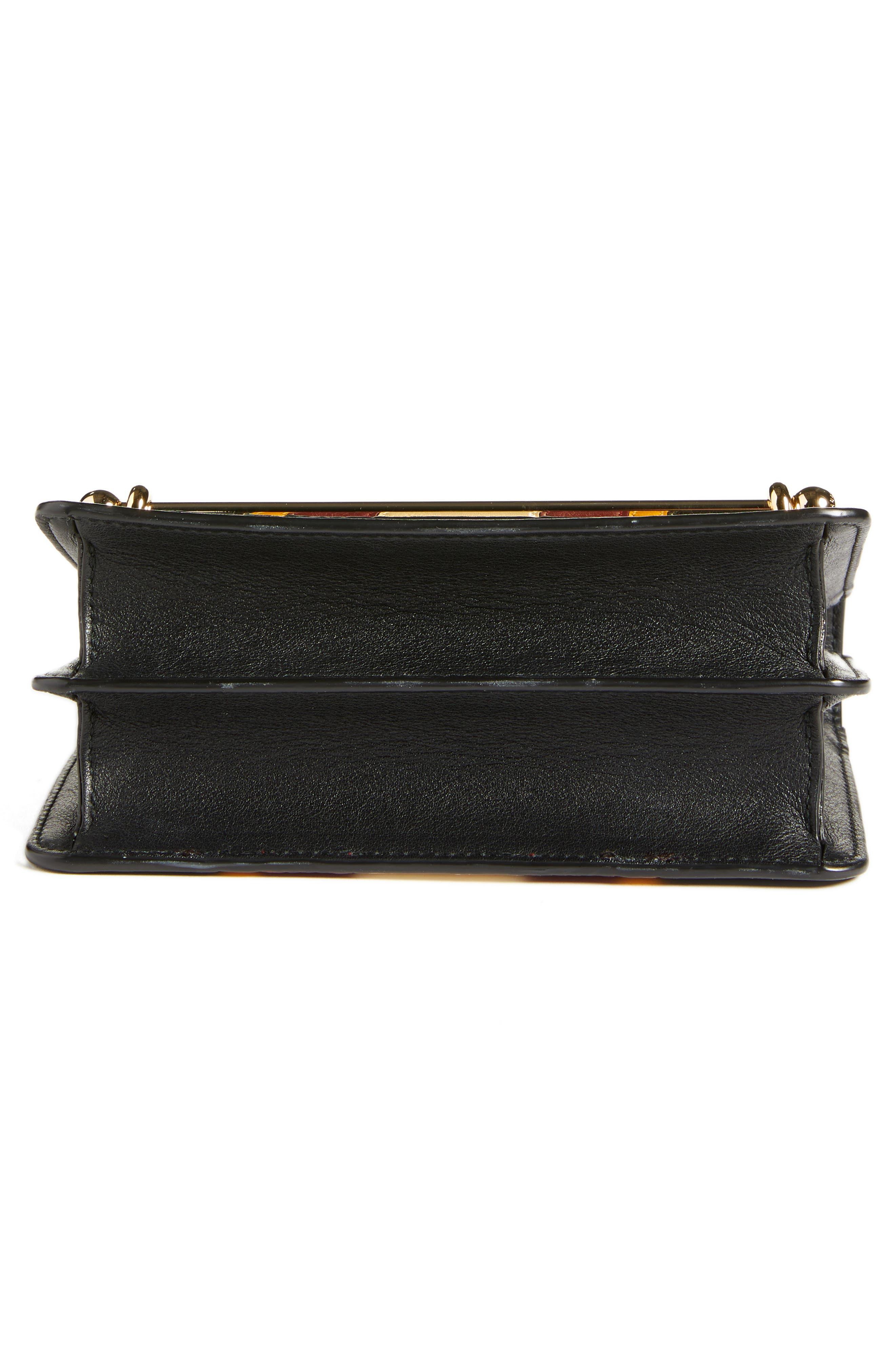 Mini East/West Stripe Leather Crossbody Bag,                             Alternate thumbnail 6, color,                             BLACK