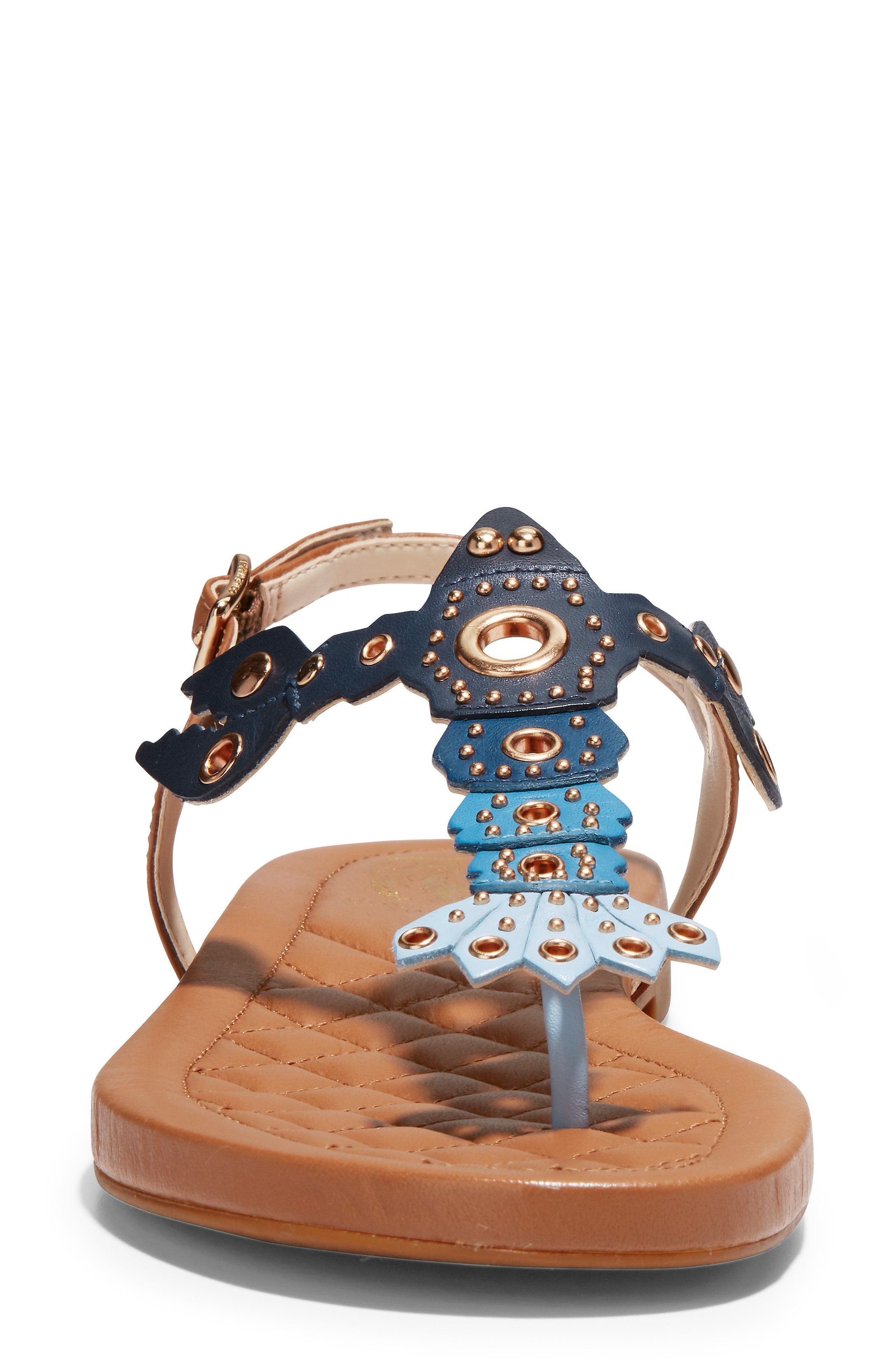 Pinch Lobster Sandal,                             Alternate thumbnail 4, color,                             NAVY MULTI LEATHER